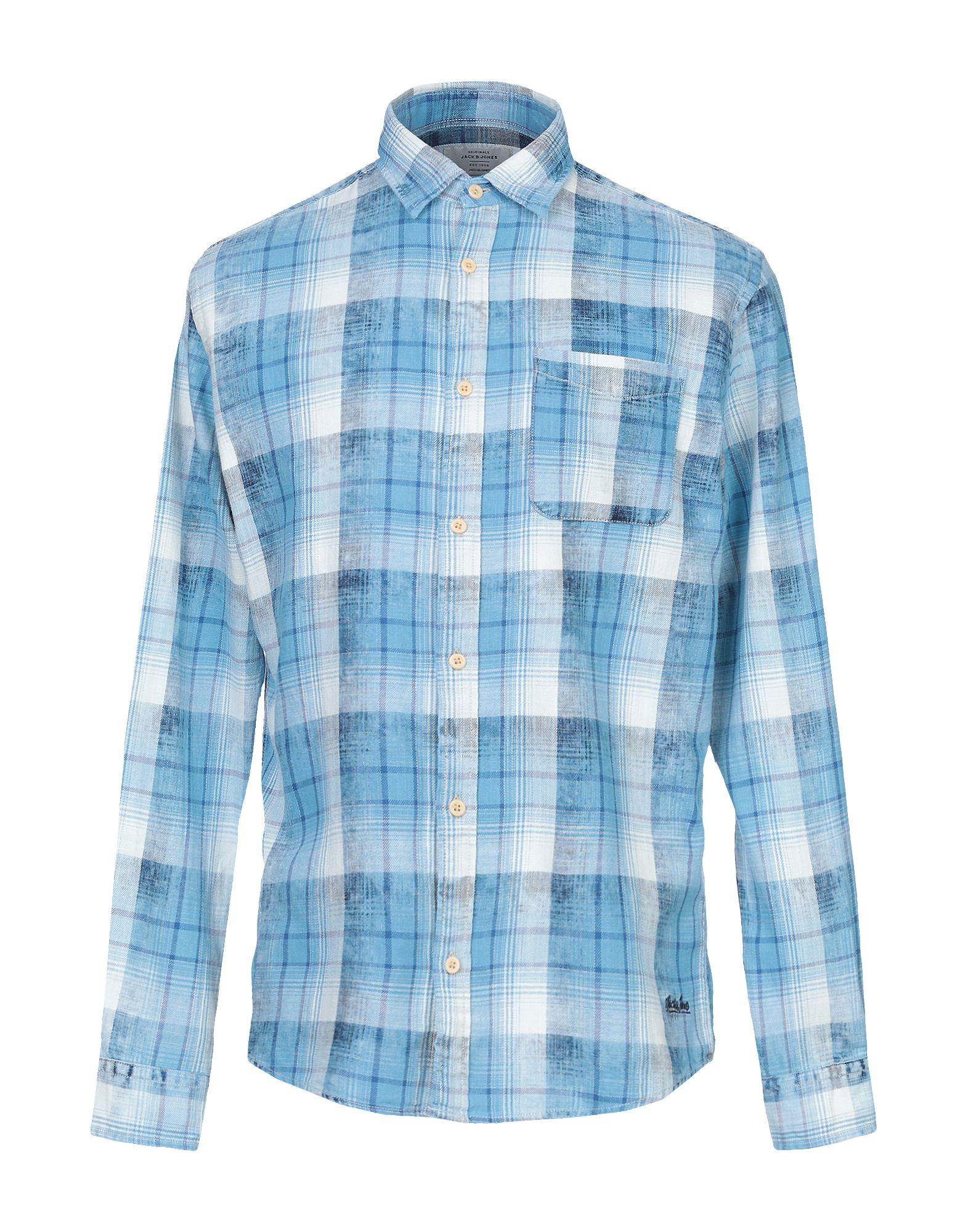 《送料無料》JACK & JONES ORIGINALS メンズ シャツ ブルー S コットン 100%