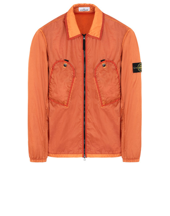 STONE ISLAND 11435 LAMY FLOCK OVER SHIRT Man Orange