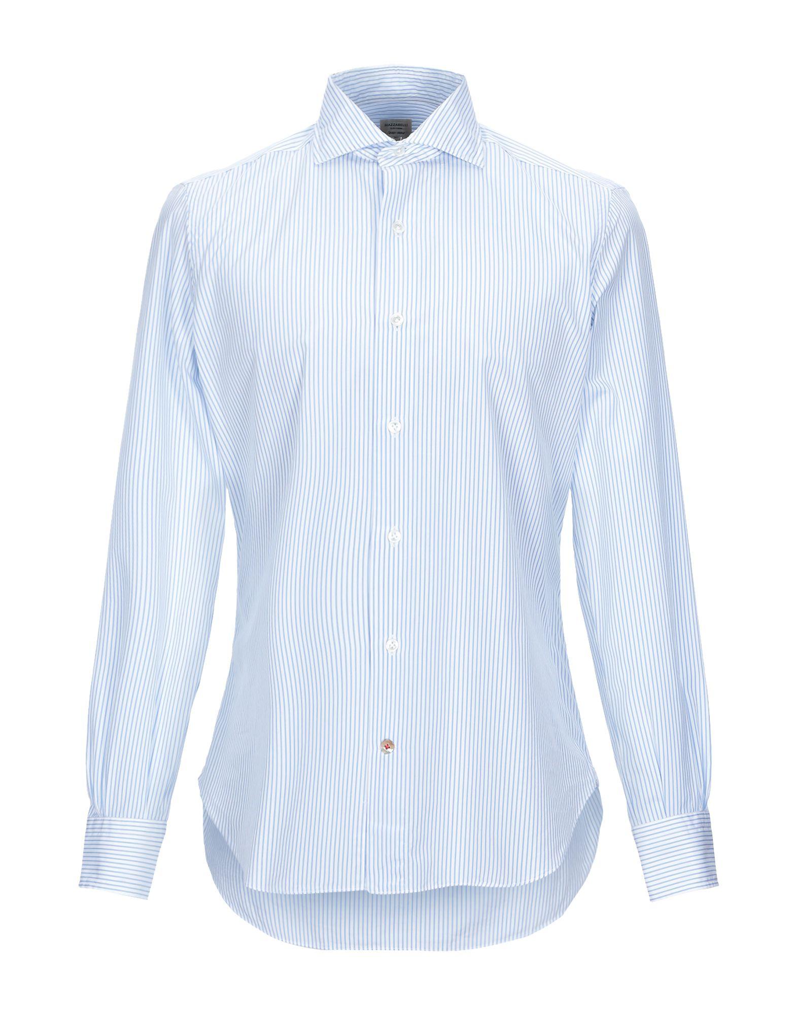 《期間限定 セール開催中》MAZZARELLI メンズ シャツ ホワイト 44 コットン 100%
