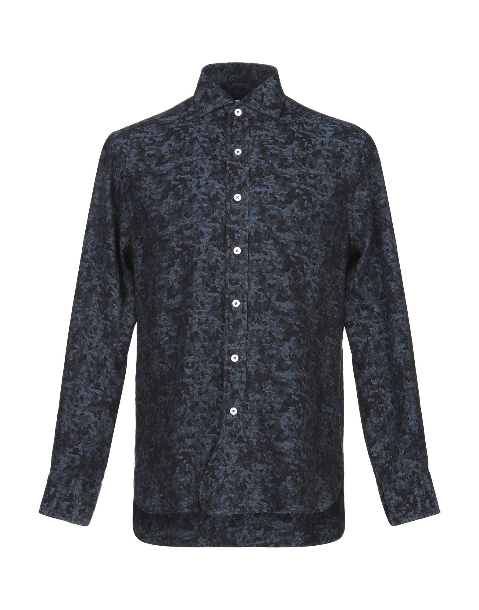 《期間限定セール開催中!》DOPPIAA メンズ シャツ ダークブルー 40 コットン 100%