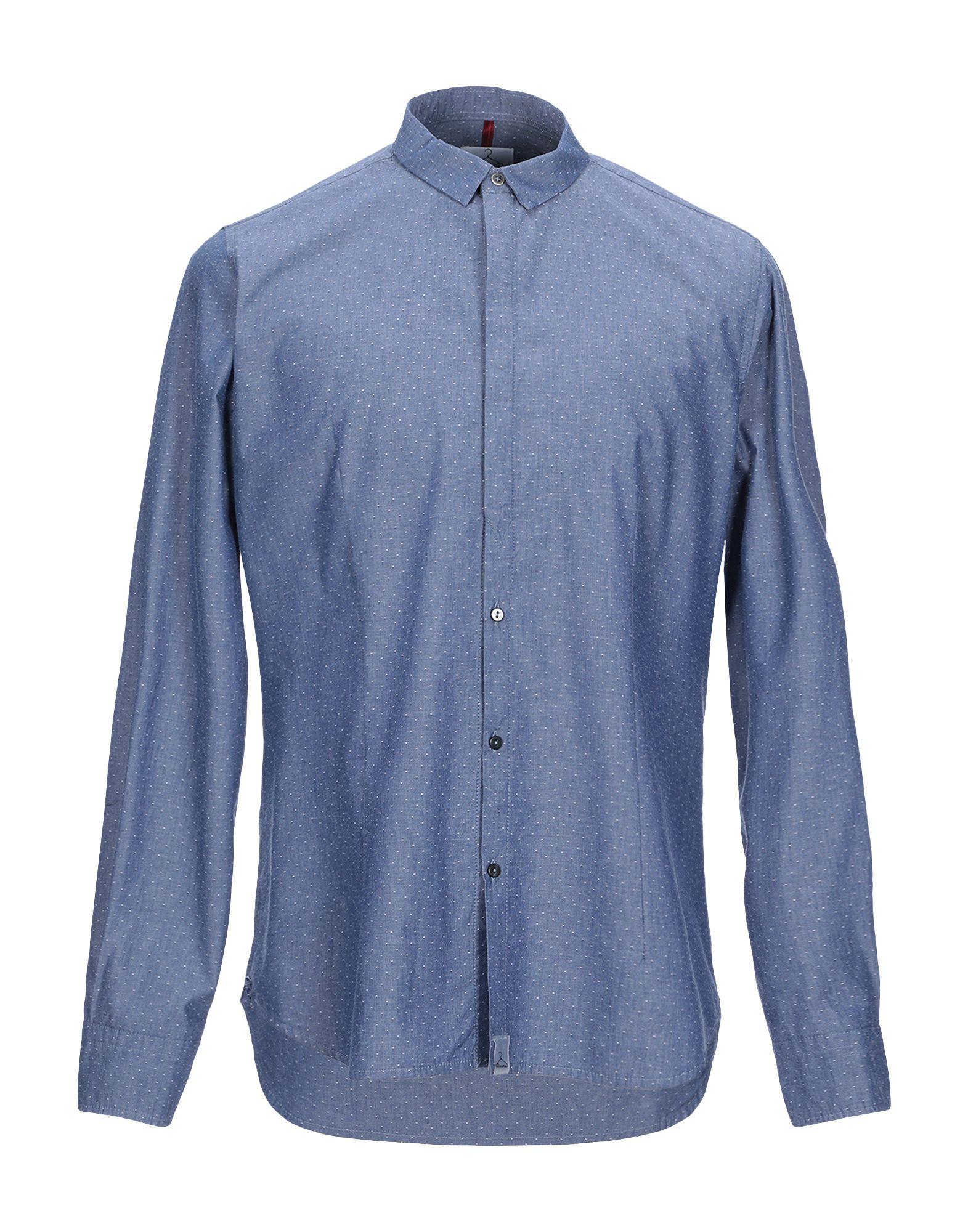 《期間限定セール中》BERNA メンズ シャツ ブルー L コットン 100%