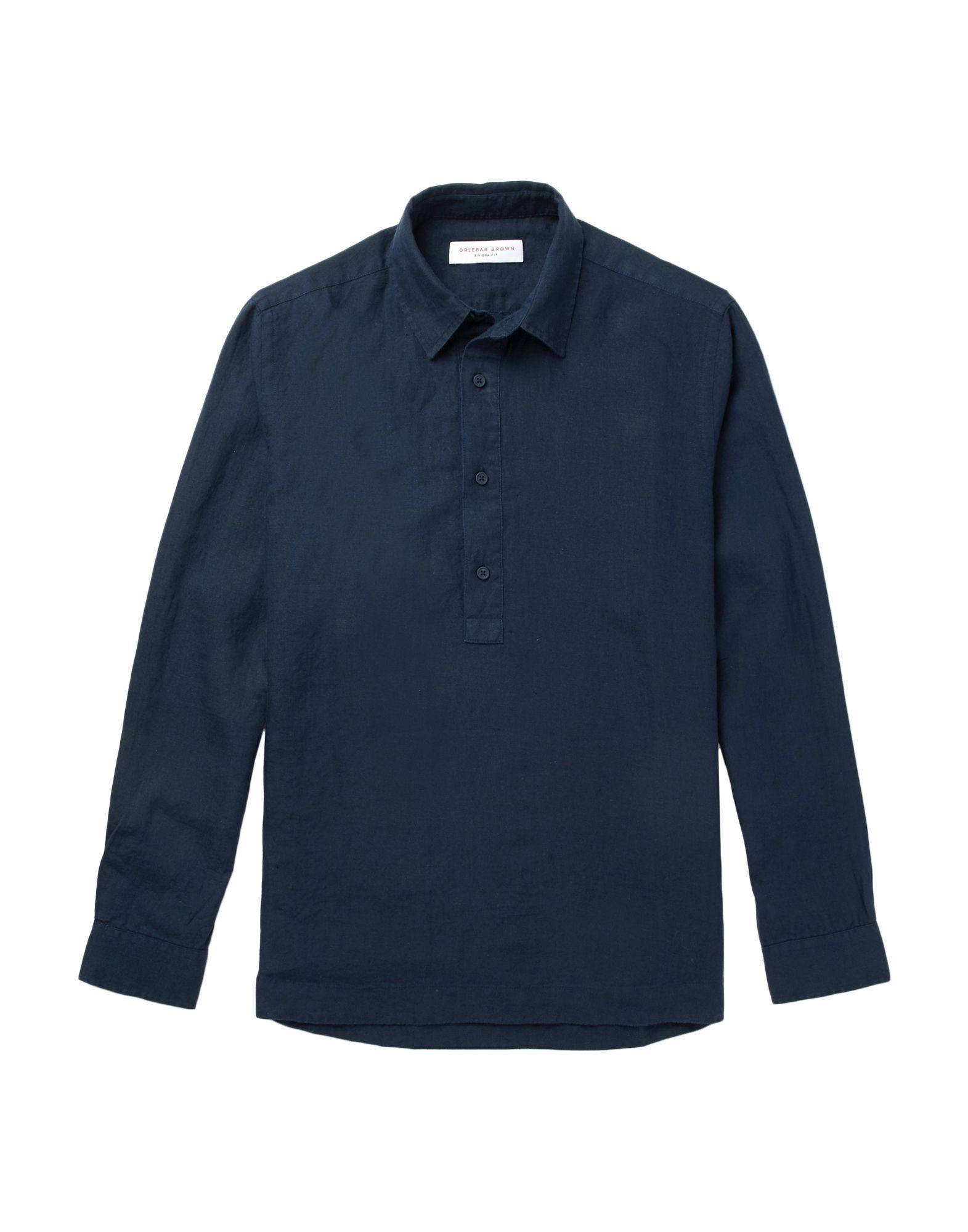 《セール開催中》ORLEBAR BROWN メンズ シャツ ダークブルー S 麻 100%