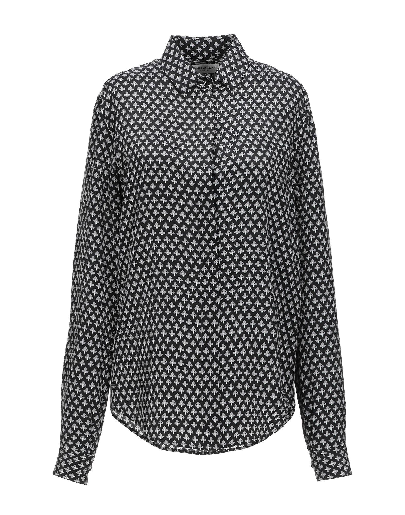 《送料無料》SAINT LAURENT レディース シャツ ブラック 36 シルク 100%