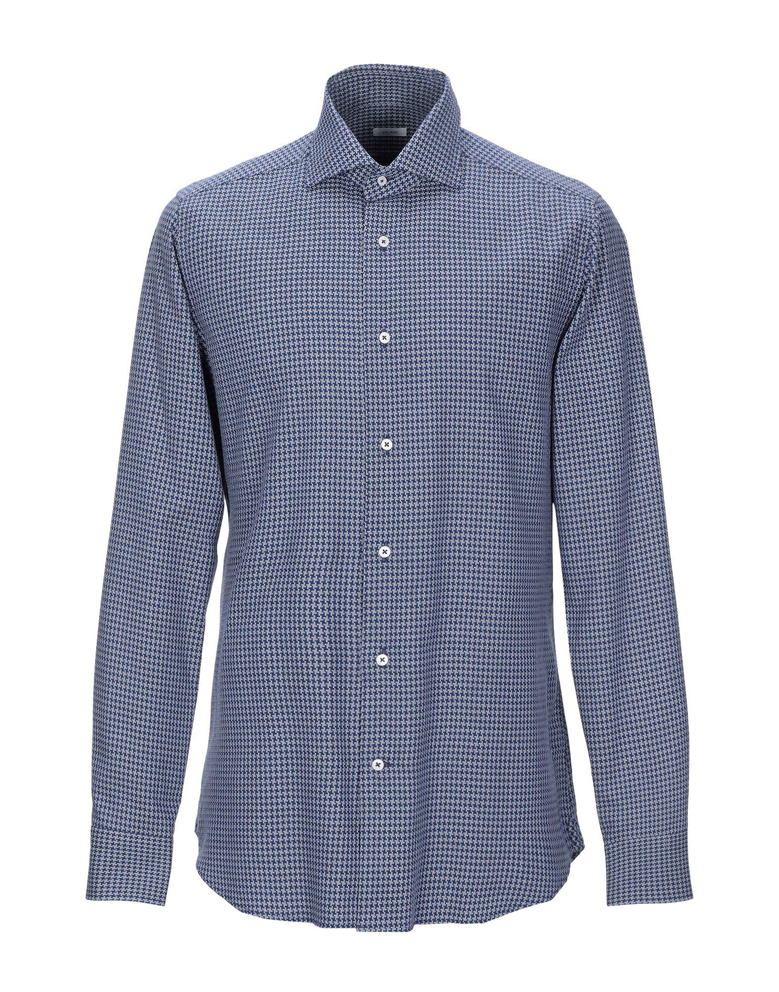 《期間限定 セール開催中》CALIBAN メンズ シャツ ブルー 42 コットン 100%