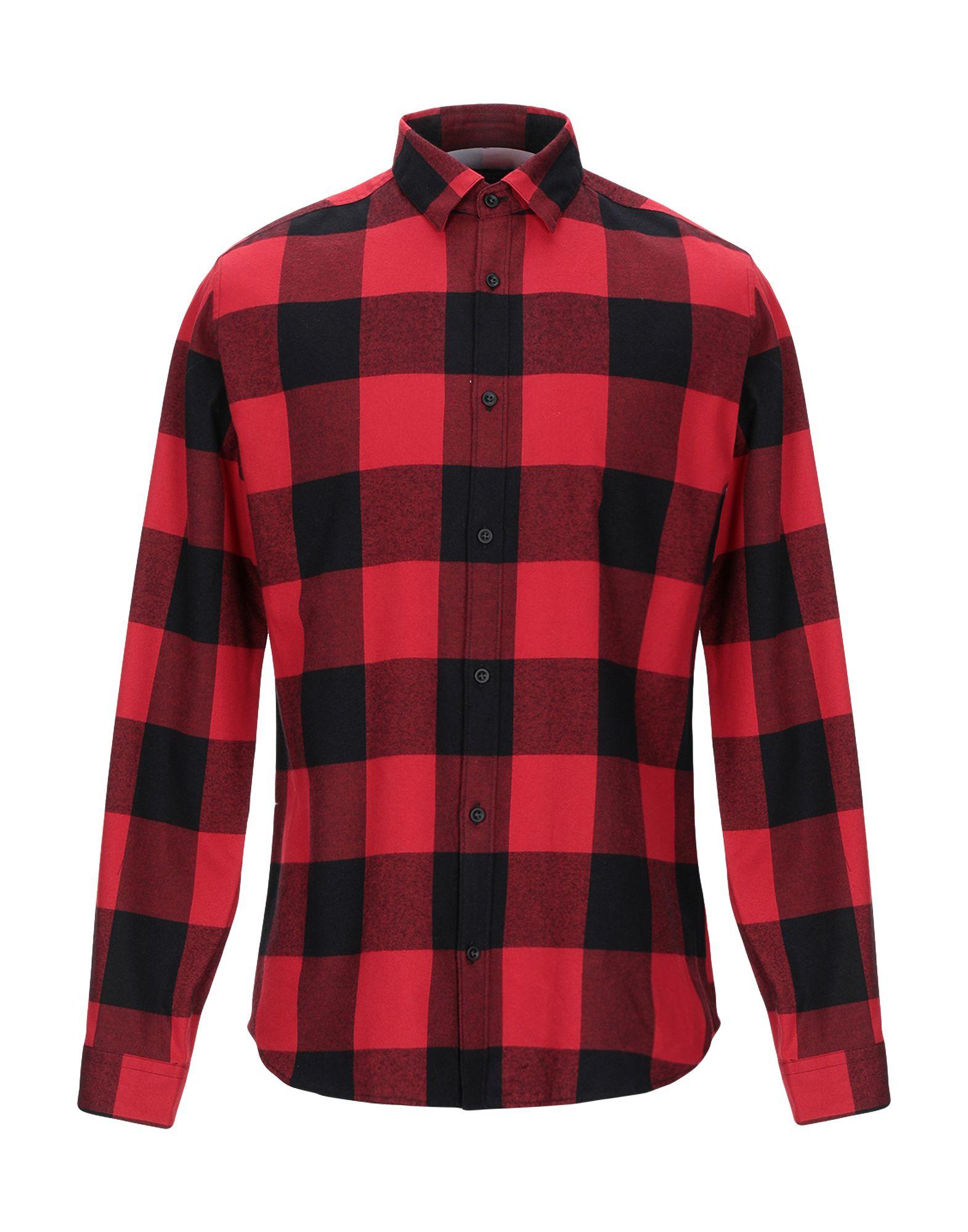 《期間限定セール開催中!》JACK & JONES PREMIUM メンズ シャツ レッド S コットン 100%