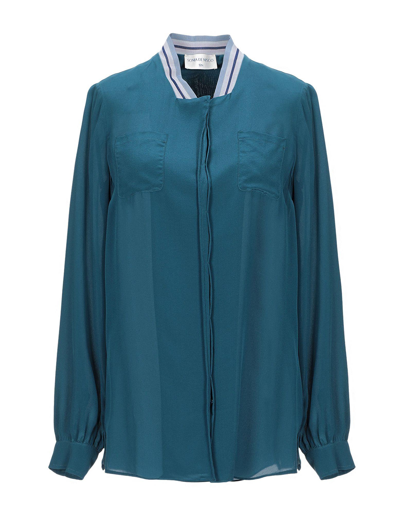 《セール開催中》SONIA DE NISCO レディース シャツ ディープジェード 42 シルク 100%