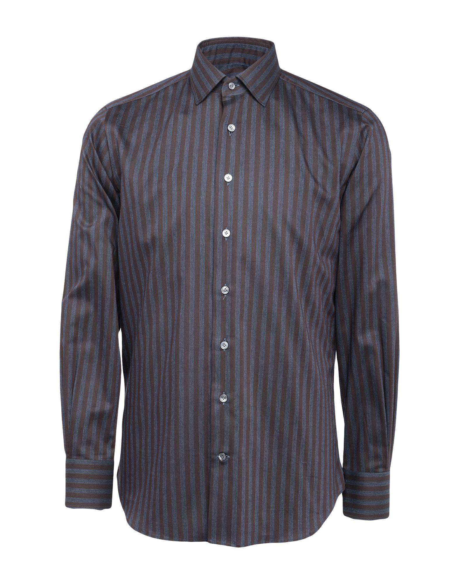 《セール開催中》BORSA メンズ シャツ ダークブラウン 38 コットン 100%