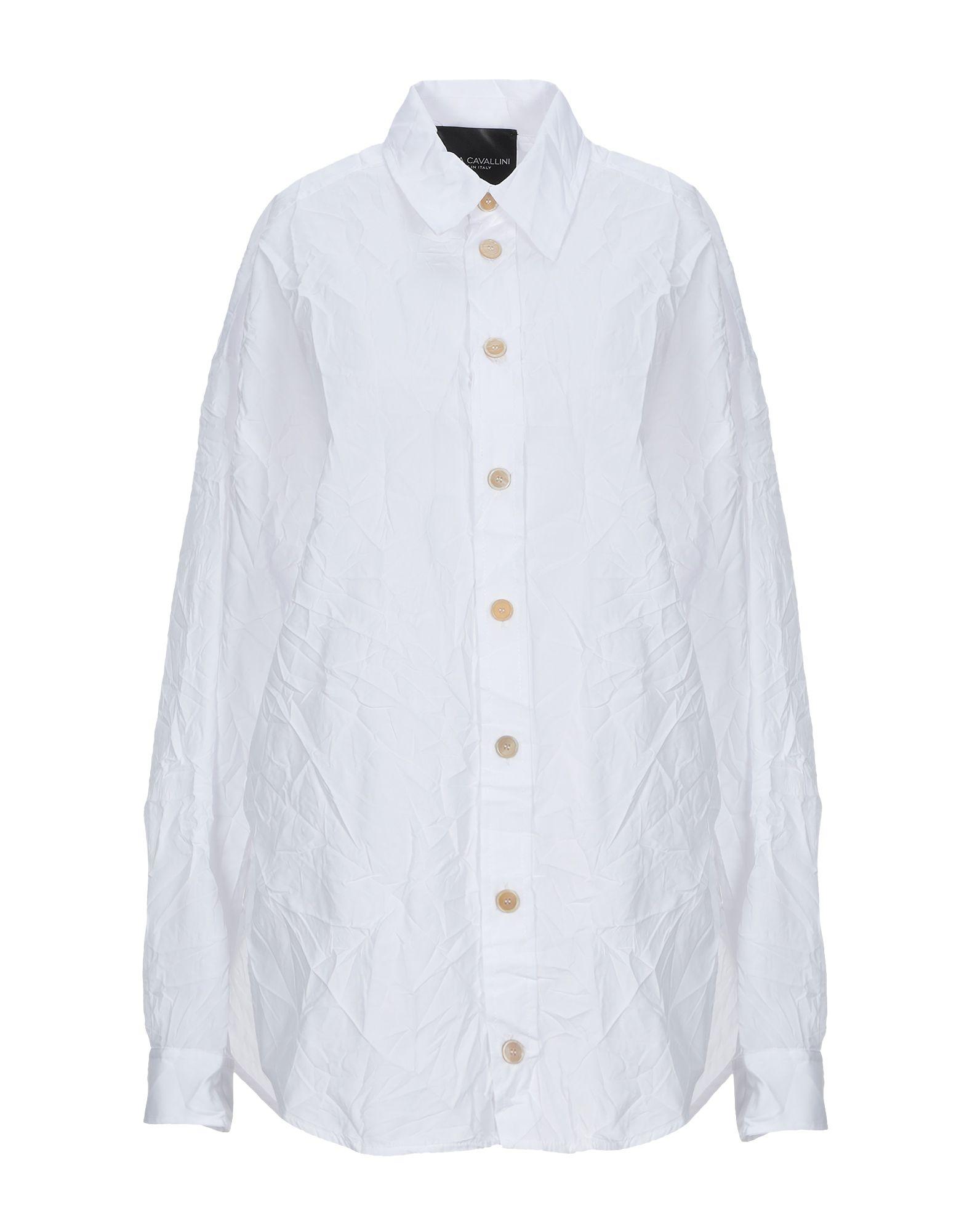 《セール開催中》ERIKA CAVALLINI レディース シャツ ホワイト 38 ポリエステル 65% / コットン 35%