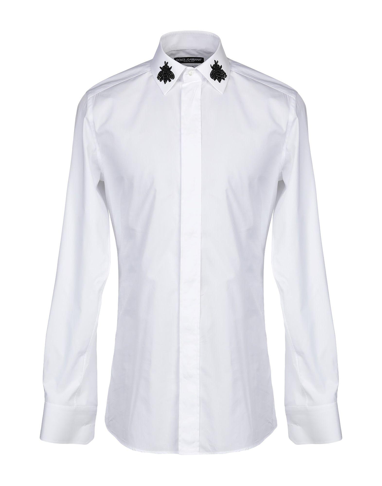 《セール開催中》DOLCE & GABBANA メンズ シャツ ホワイト 41 コットン 100% / アクリル / 真鍮/ブラス / シルク / ガラス