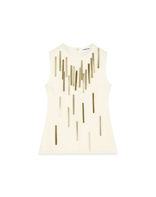 WOOL TOP WITH GOLD FRINGE - Lanvin