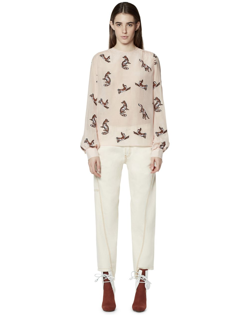 EMBROIDERED COTTON AND SILK BLOUSE - Lanvin