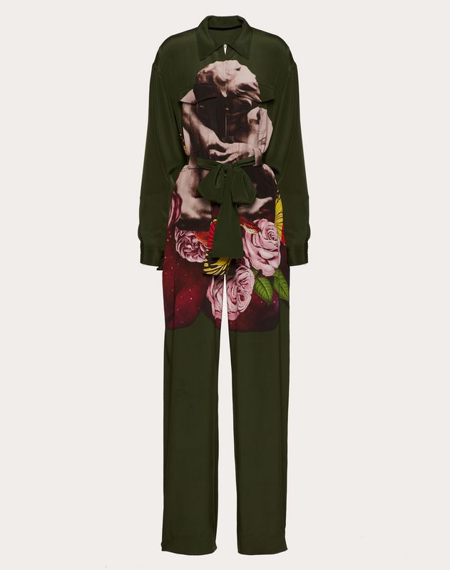 Undercover Print Crepe de Chine Jumpsuit