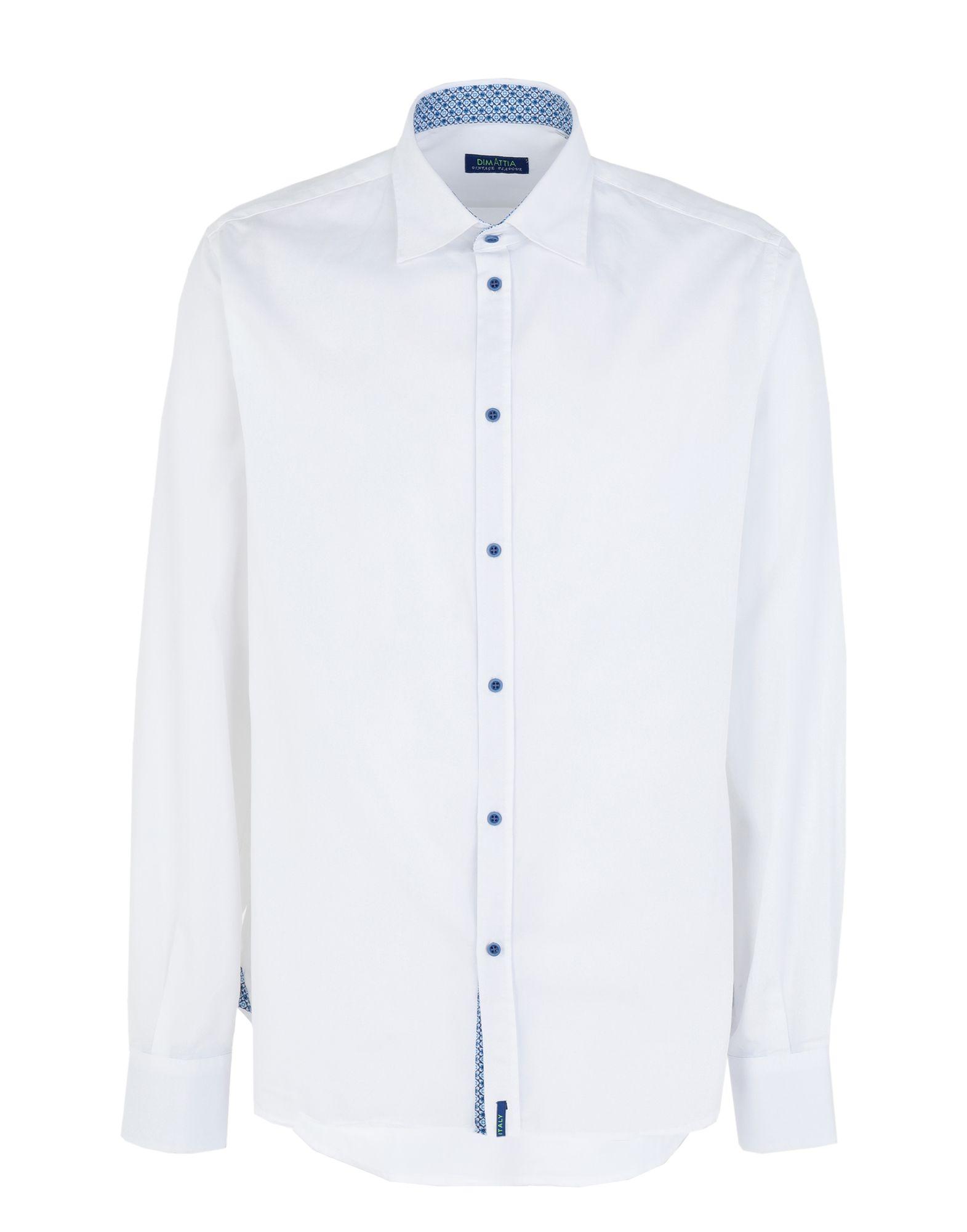 《期間限定 セール開催中》DIMATTIA メンズ シャツ ホワイト 43 コットン 100%