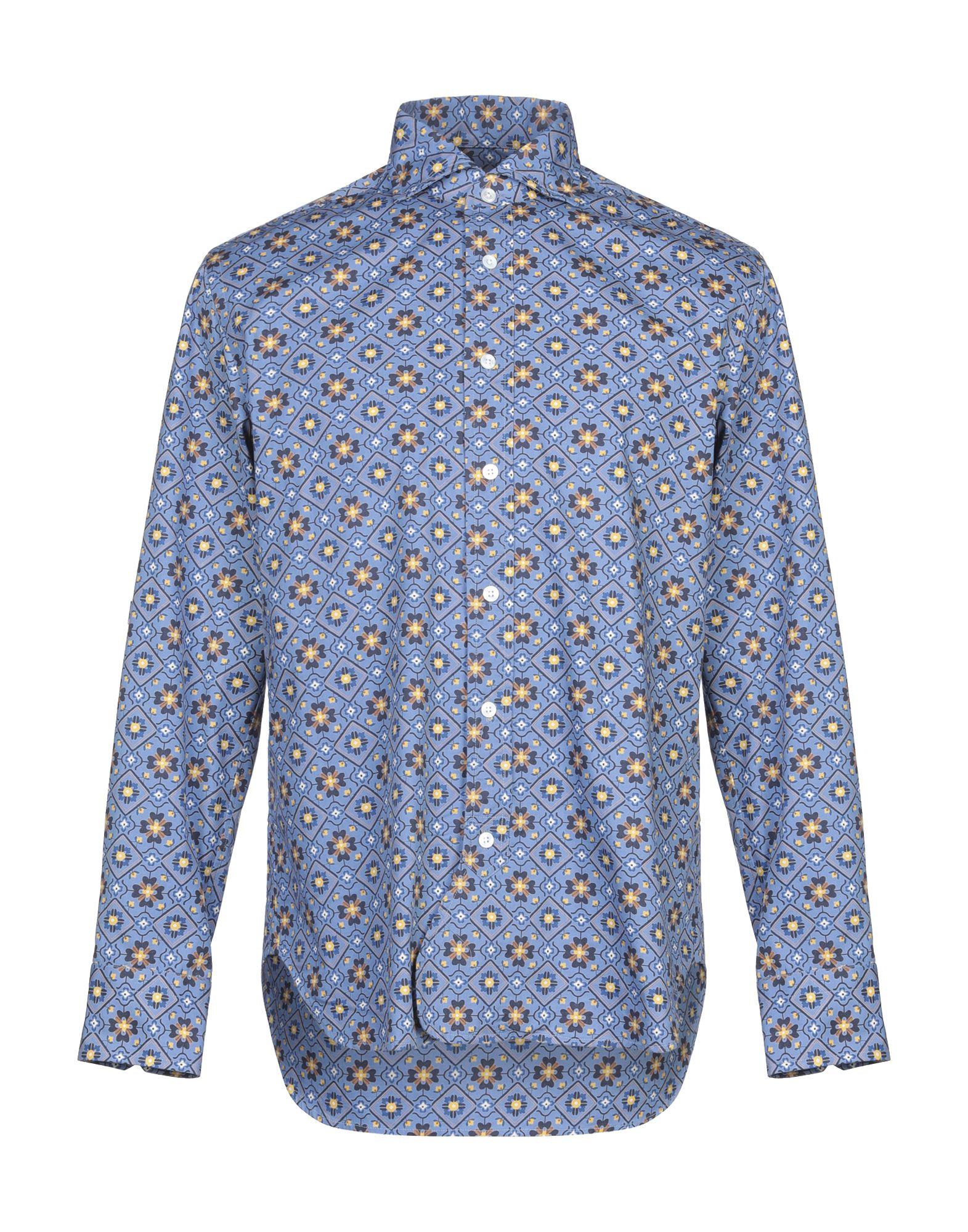 《期間限定セール開催中!》DOPPIAA メンズ シャツ パステルブルー 40 コットン 100%