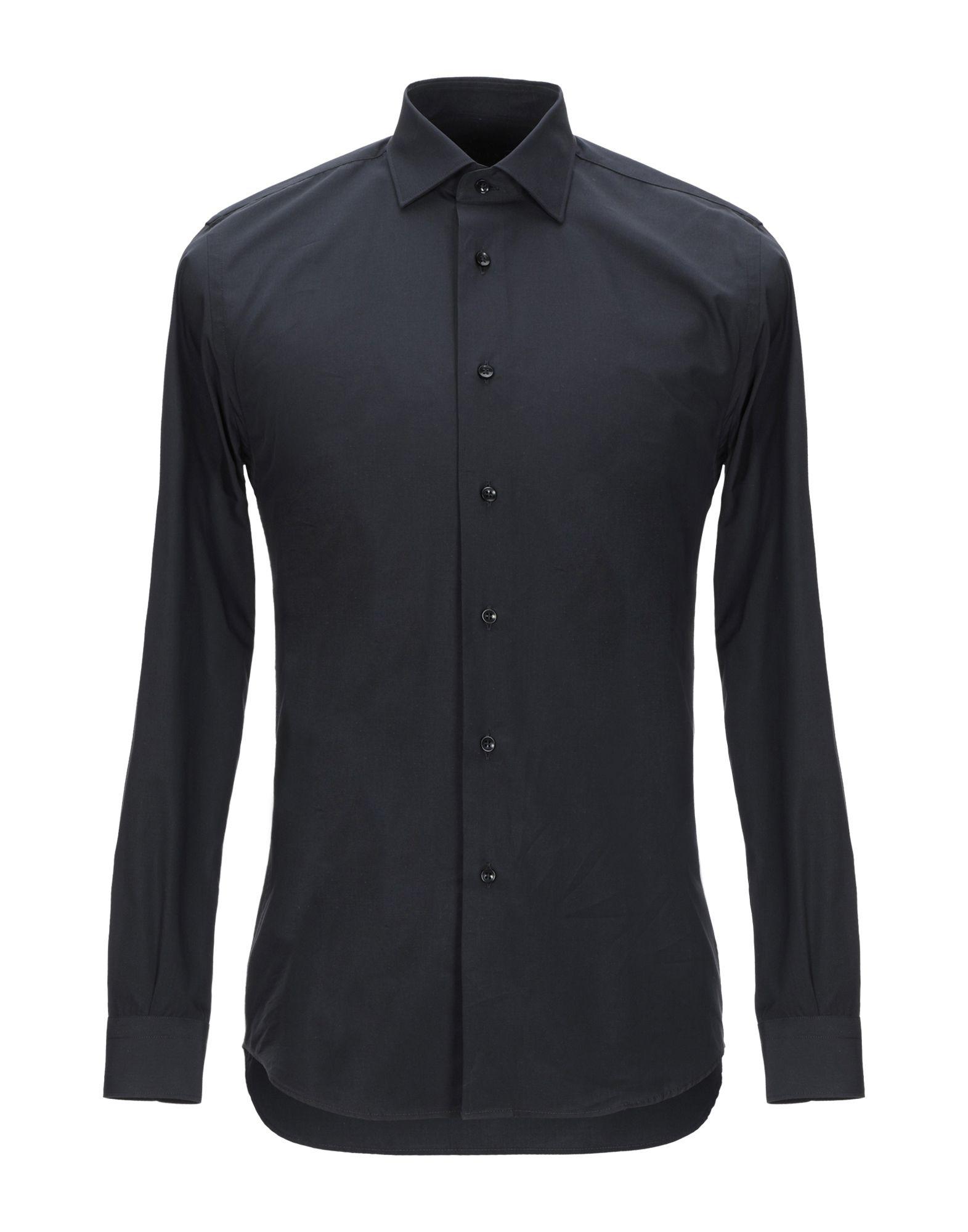 《期間限定 セール開催中》MILENA メンズ シャツ ブラック 38 コットン 100%