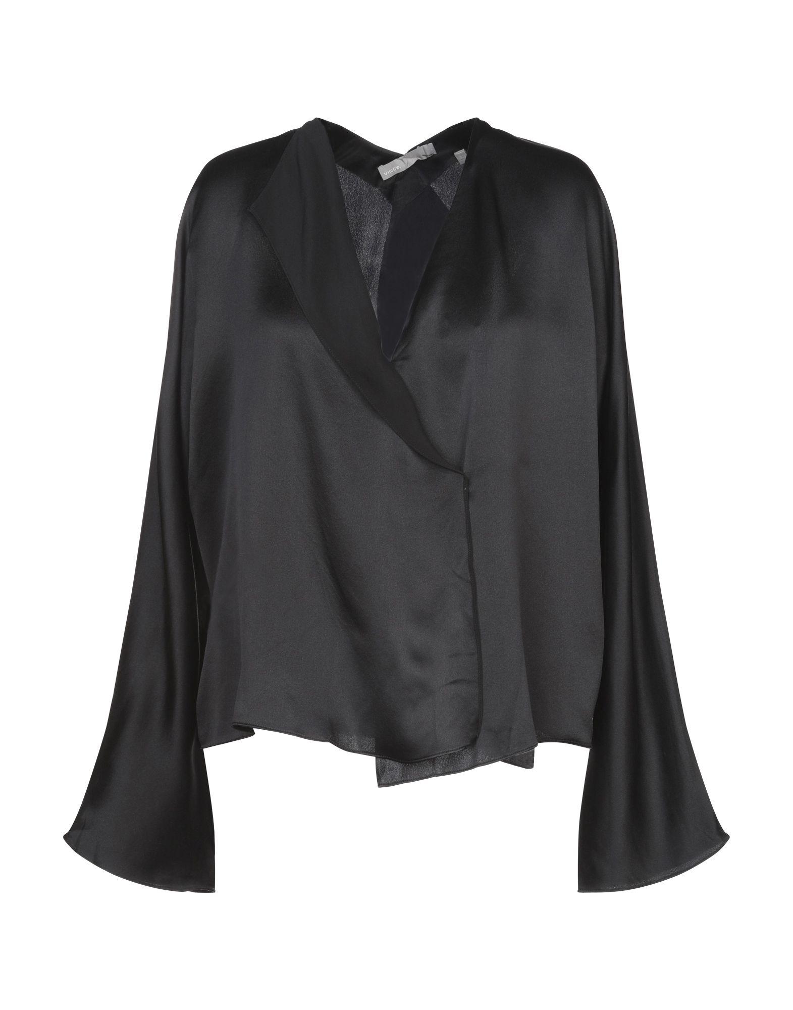 VINCE. Блузка vince черная шелковая блузка
