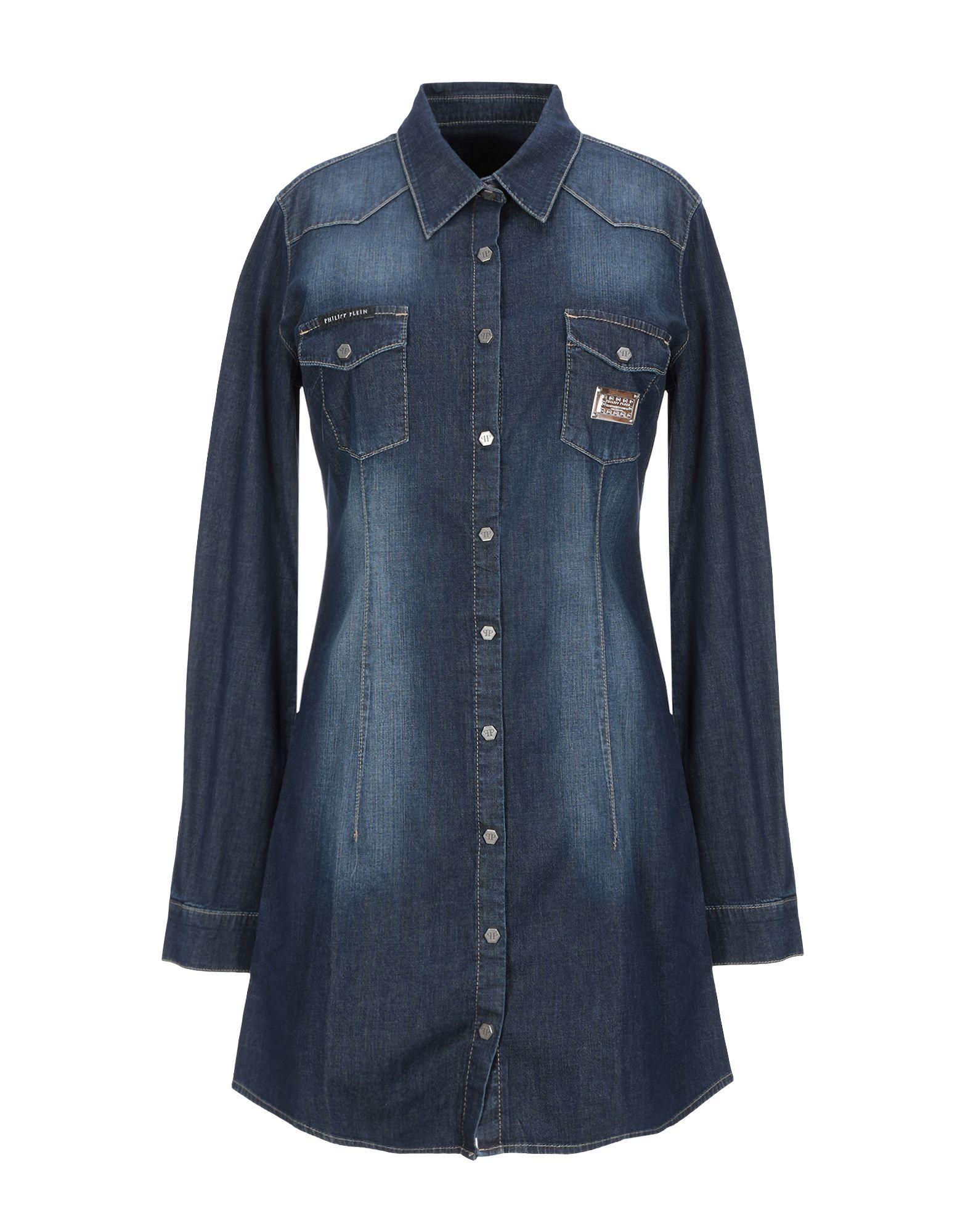 《セール開催中》PHILIPP PLEIN レディース デニムシャツ ブルー S コットン 99% / ポリウレタン 1%