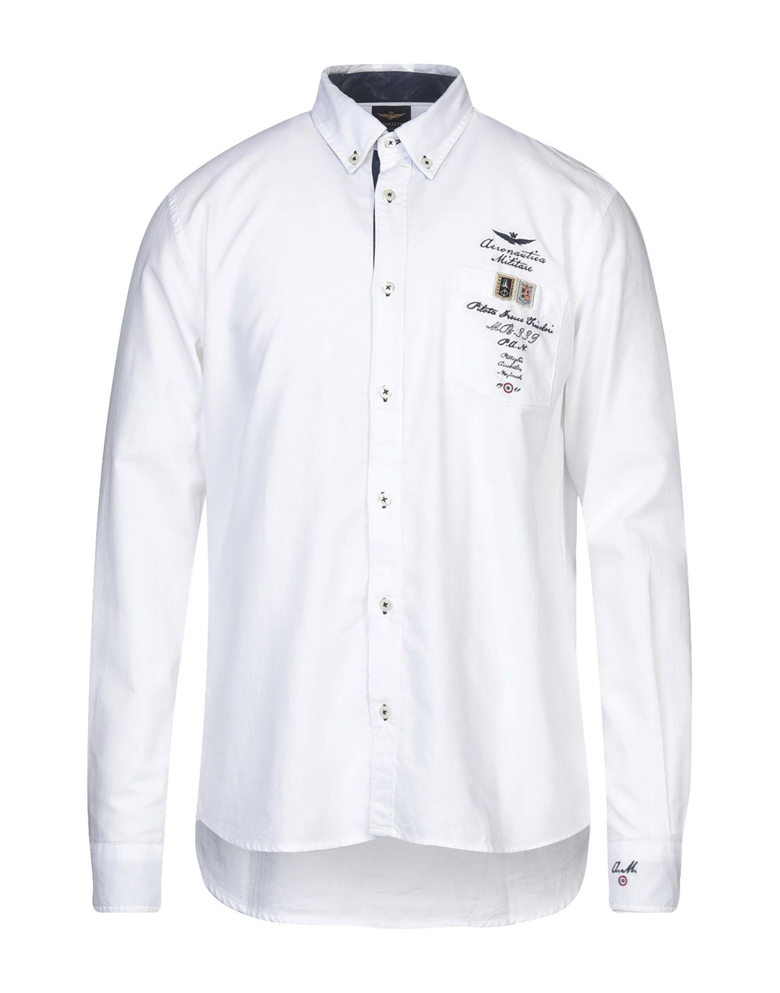 《セール開催中》AERONAUTICA MILITARE メンズ シャツ ホワイト L コットン 100%