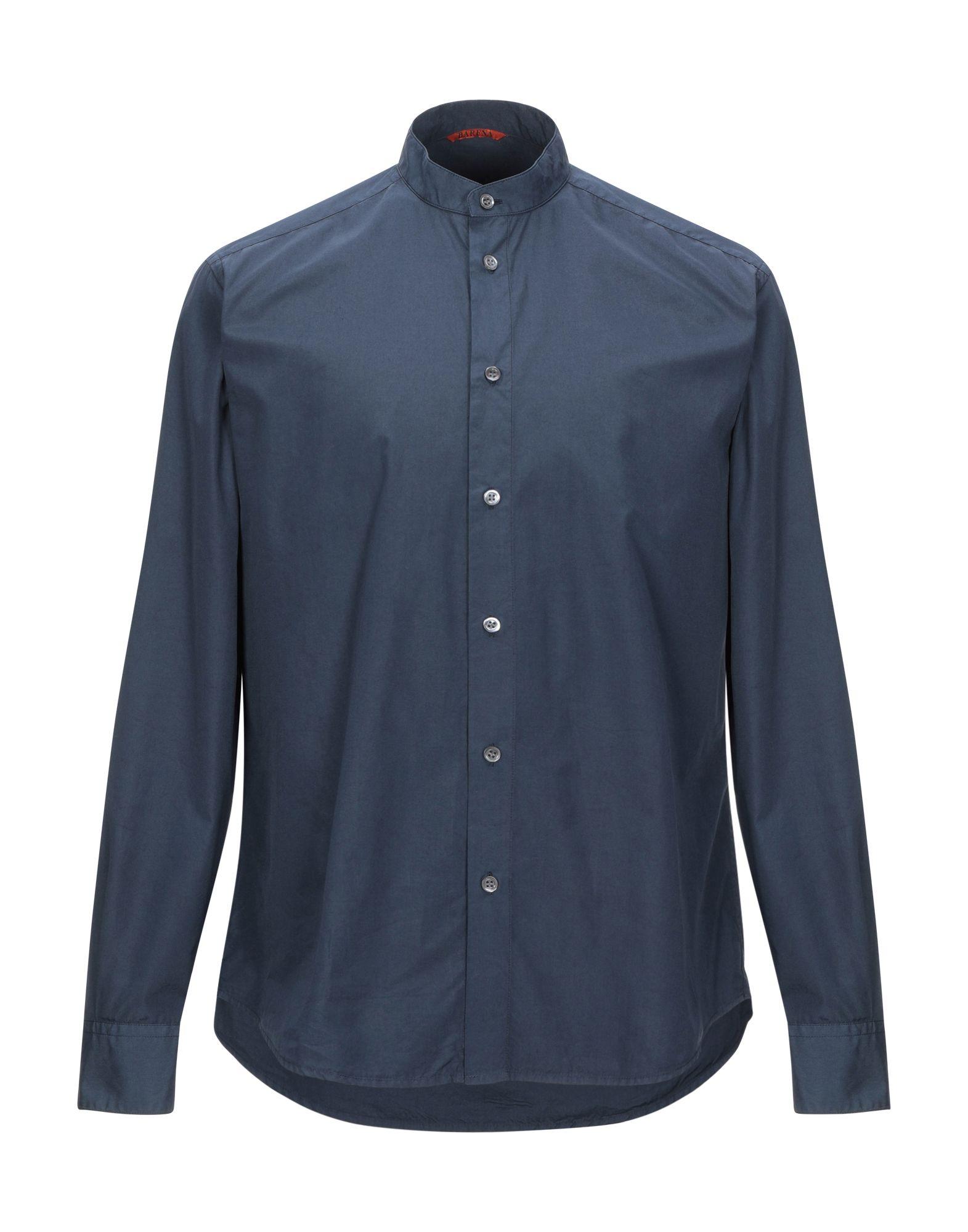 《セール開催中》BARENA メンズ シャツ ダークブルー 44 コットン 100%