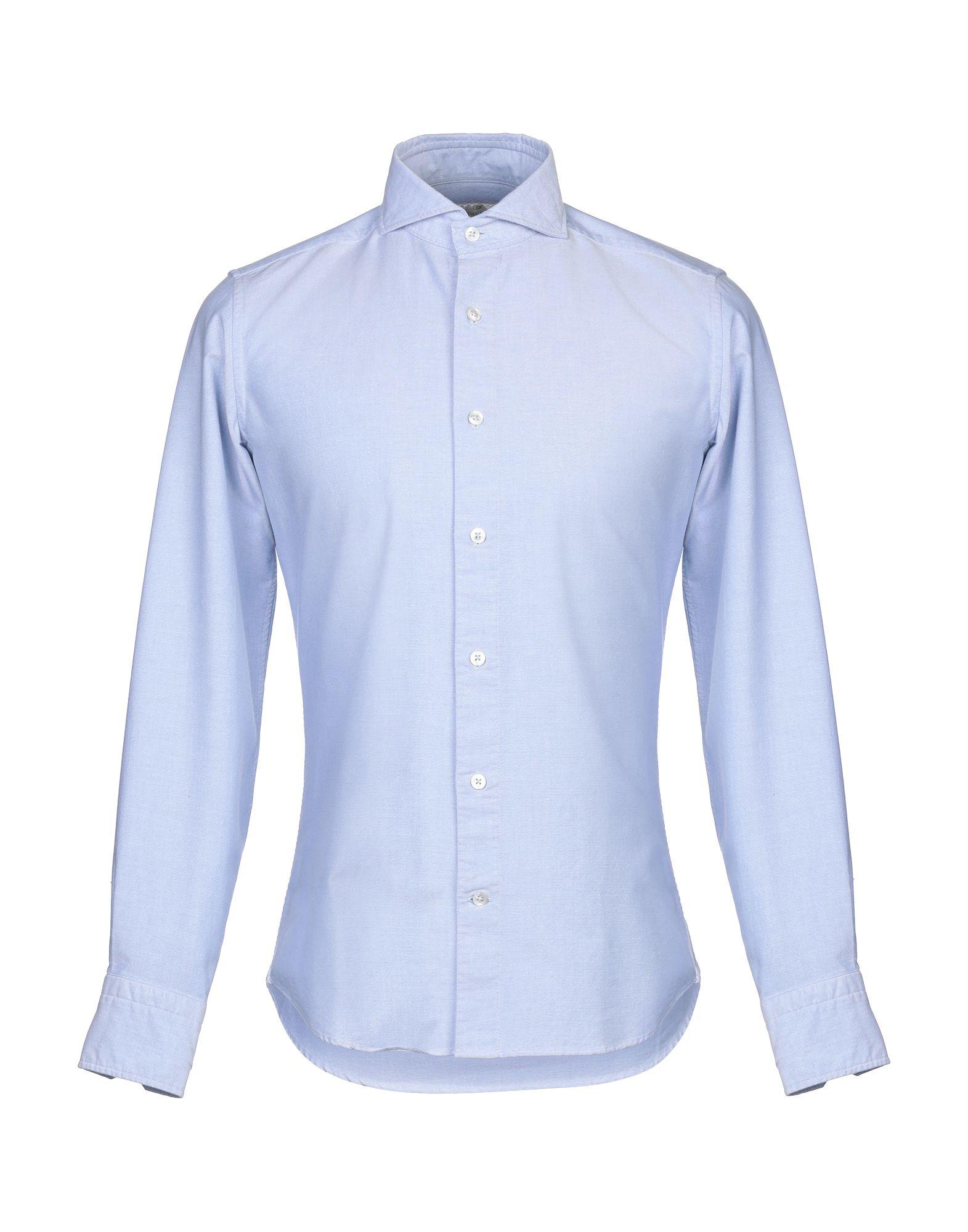 《セール開催中》LABORATORIO DEL CARMINE メンズ シャツ ブルーグレー 39 コットン 100%