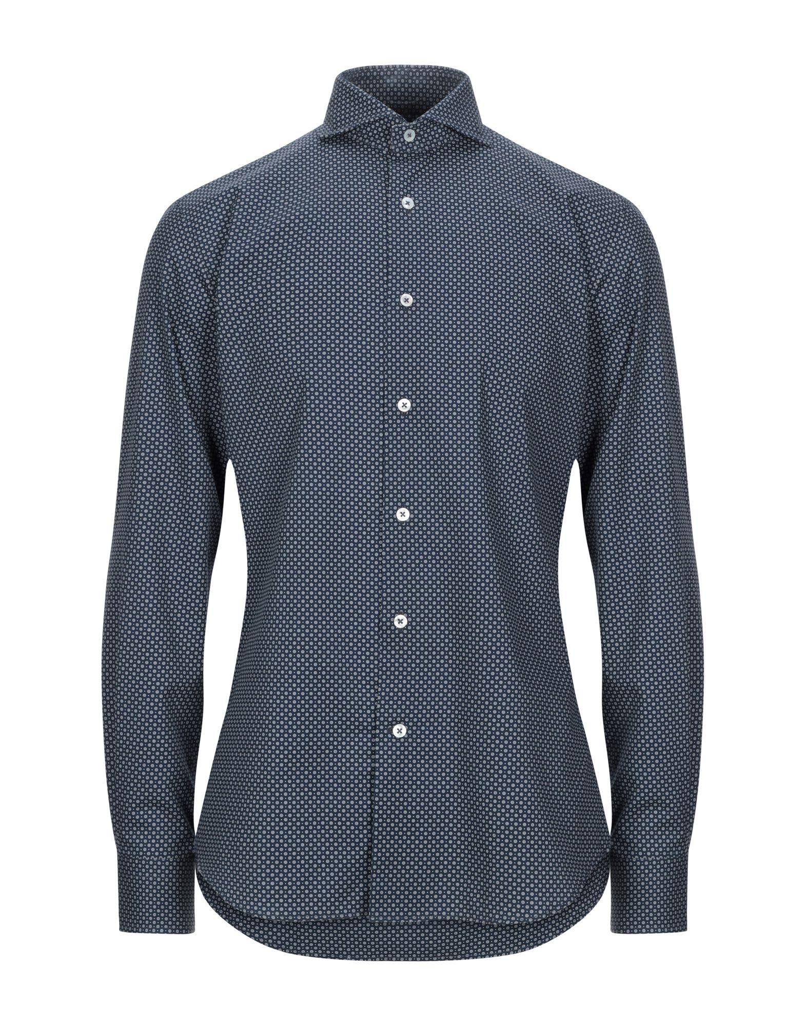 《セール開催中》LABORATORIO DEL CARMINE メンズ シャツ ダークブルー 41 コットン 100%