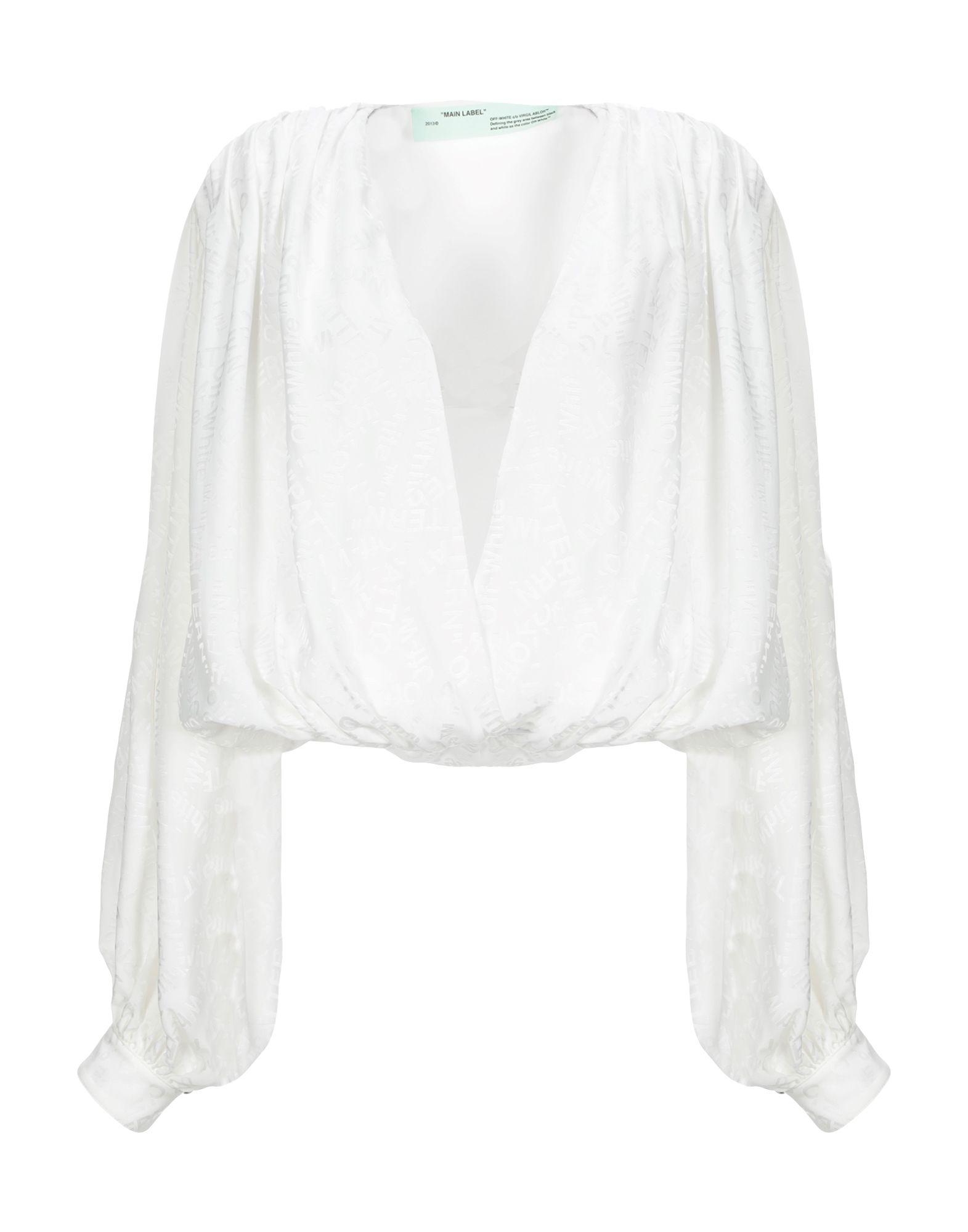 OFF-WHITE™ Blouses. crepe, no appliqués, basic solid color, long sleeves, deep neckline, no pockets. 73% Acetate, 27% Viscose