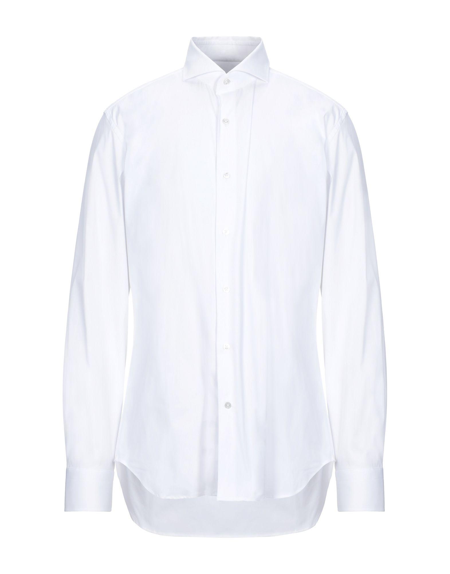 《セール開催中》LABORATORIO DEL CARMINE メンズ シャツ ホワイト 44 コットン 78% / ナイロン 18% / ポリウレタン 4%