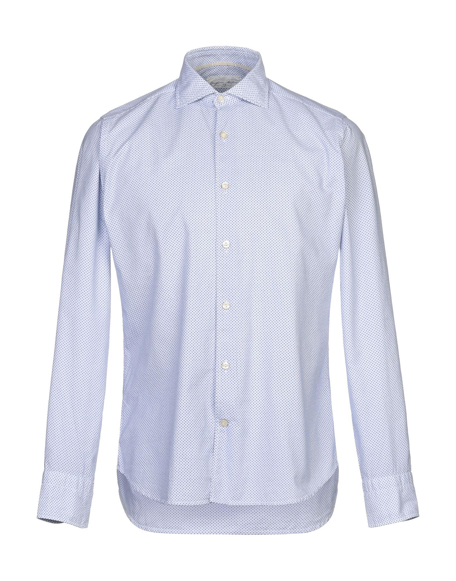 《セール開催中》OPIFICIO MILANO M メンズ シャツ アジュールブルー 39 コットン 100%