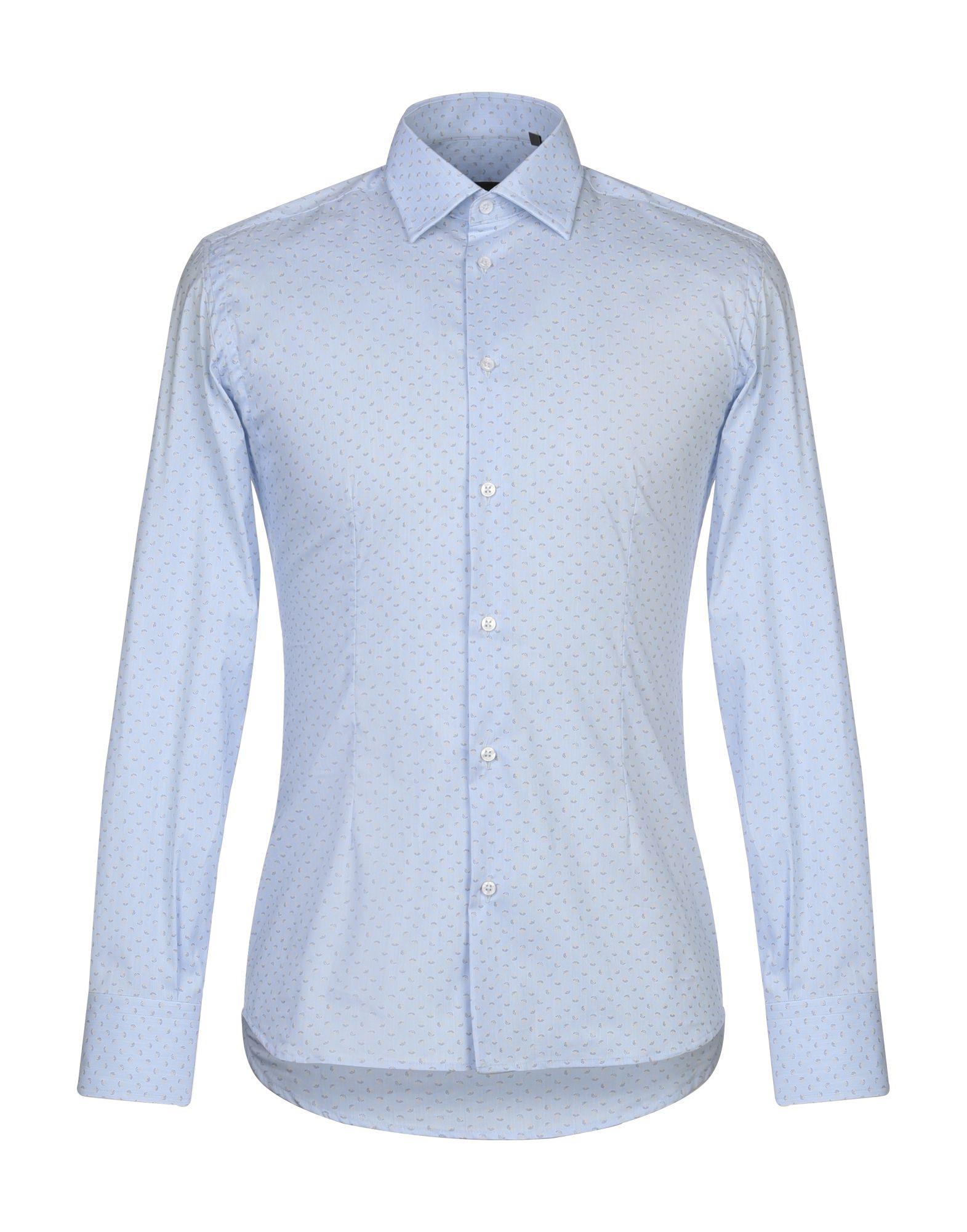 《期間限定セール開催中!》EREDI DEL DUCA メンズ シャツ アジュールブルー S コットン 72% / ナイロン 25% / ポリウレタン 3%