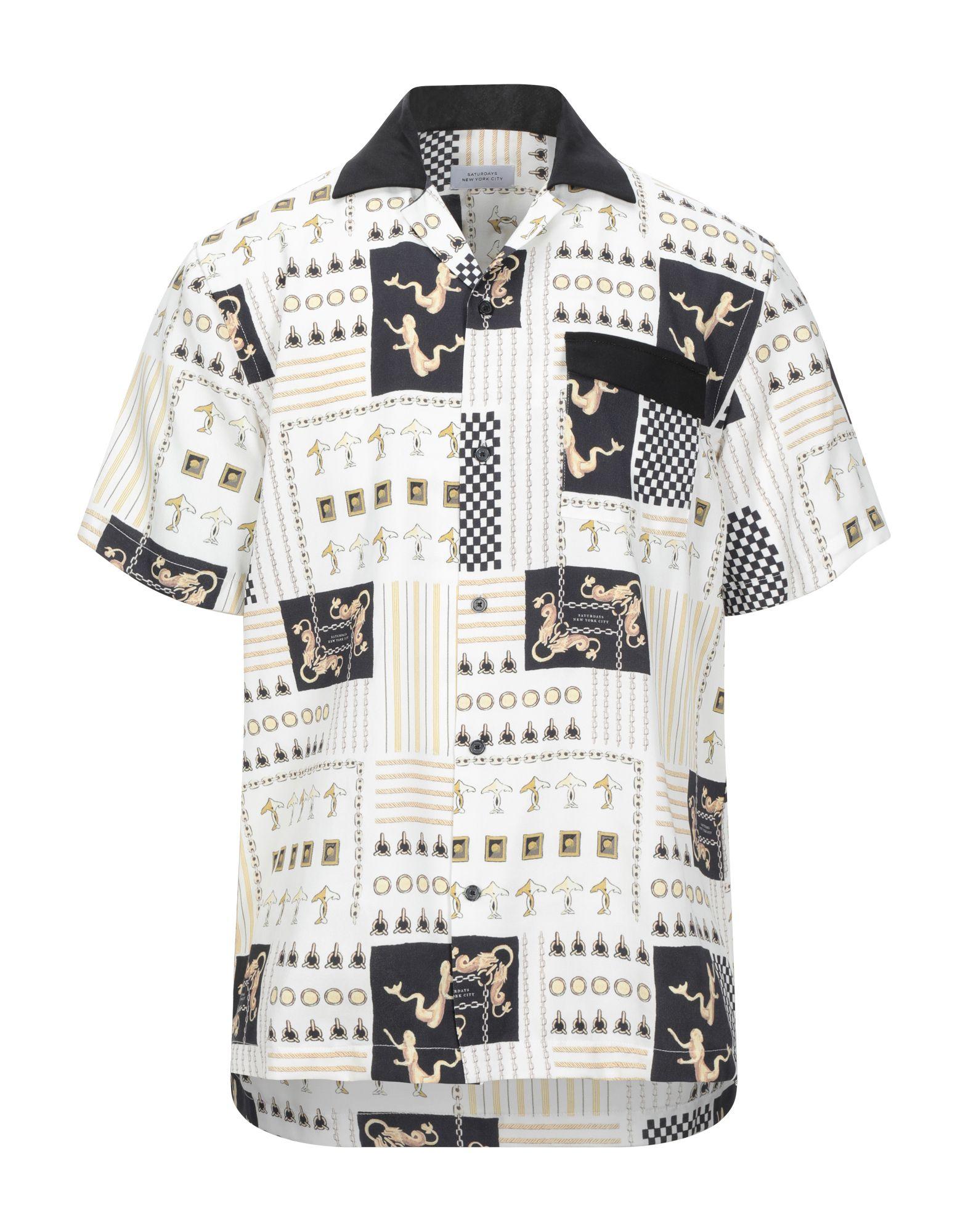 《セール開催中》SATURDAYS NEW YORK CITY メンズ シャツ アイボリー S テンセル 100%