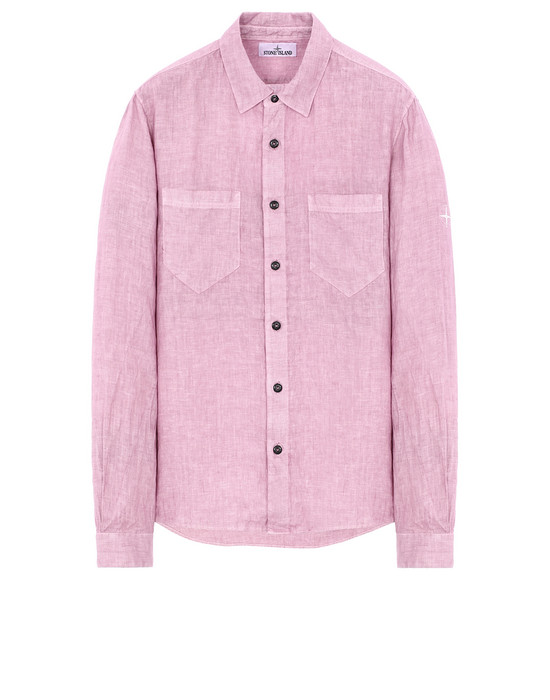 "STONE ISLAND 11201""FISSATO""DYE TREATMENT Long sleeve shirt Man Pink Quartz"
