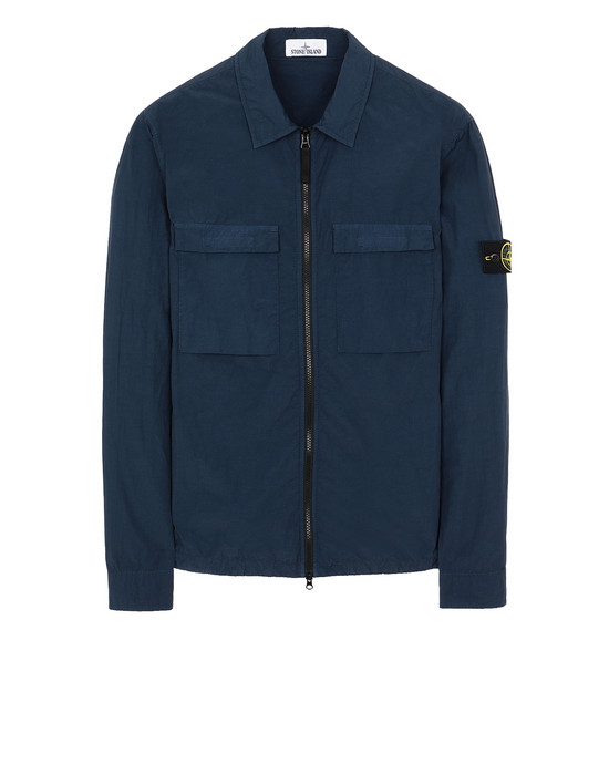 STONE ISLAND 11102 NASLAN LIGHT OVER SHIRT Man Marine Blue
