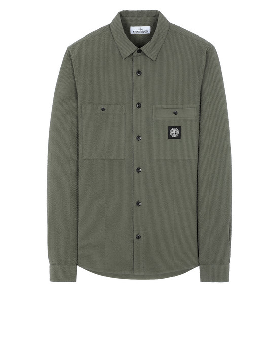 STONE ISLAND 11637 SEERSUCKER CO-TC Long sleeve shirt Man Olive Green