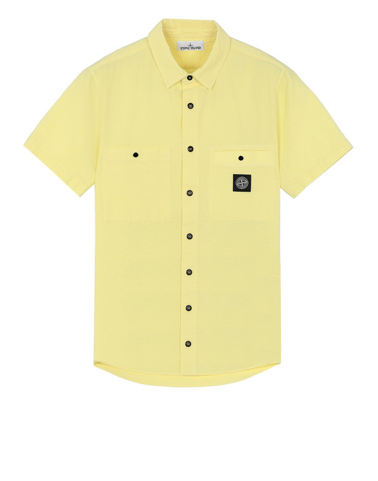 STONE ISLAND 12837 SEERSUCKER CO-TC Short sleeve shirt Man Lemon