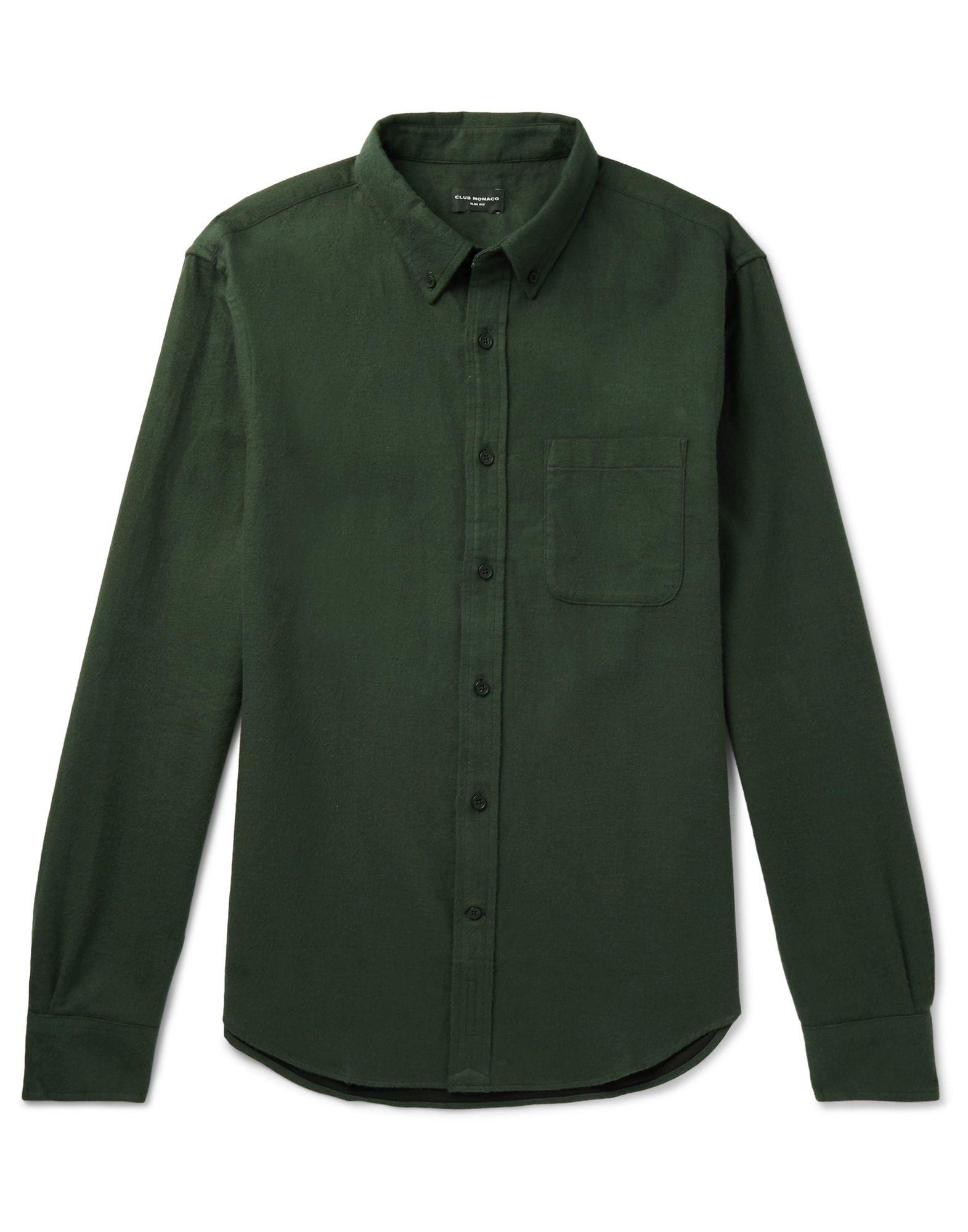 《セール開催中》CLUB MONACO メンズ シャツ ダークグリーン XL コットン 100%