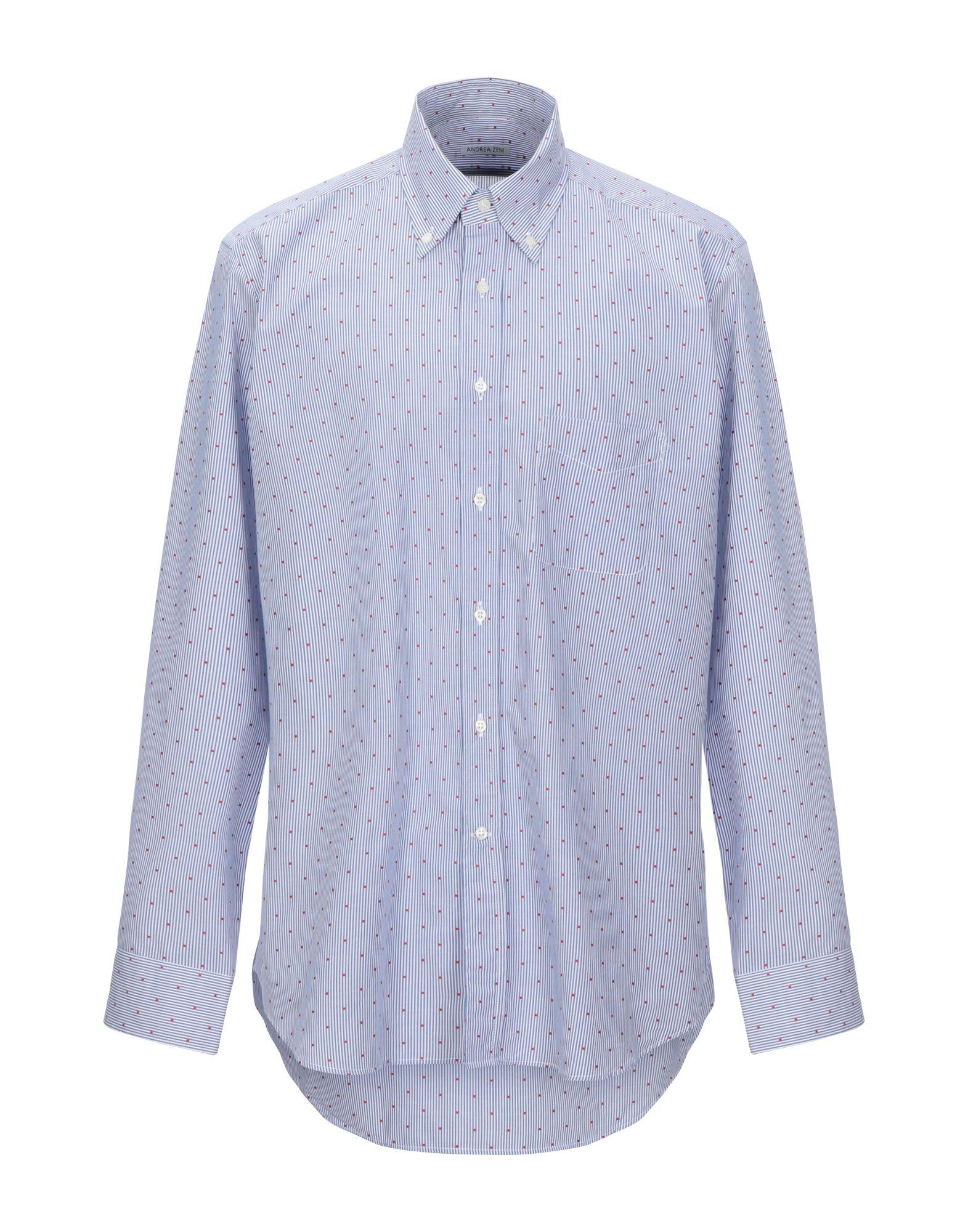 《セール開催中》ANDREA ZENI メンズ シャツ ブルー 43 コットン 100%