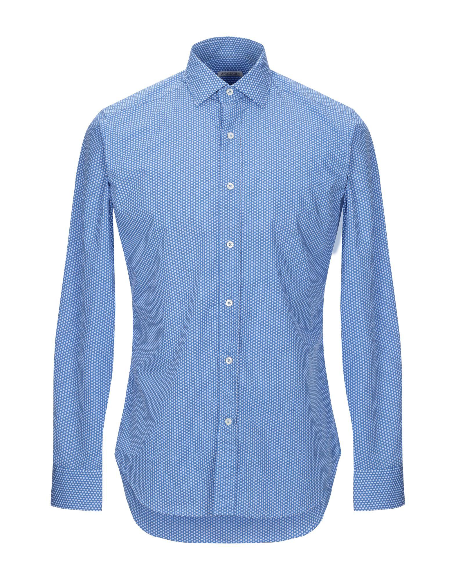 《セール開催中》ANDREA ZENI メンズ シャツ アジュールブルー 38 コットン 100%