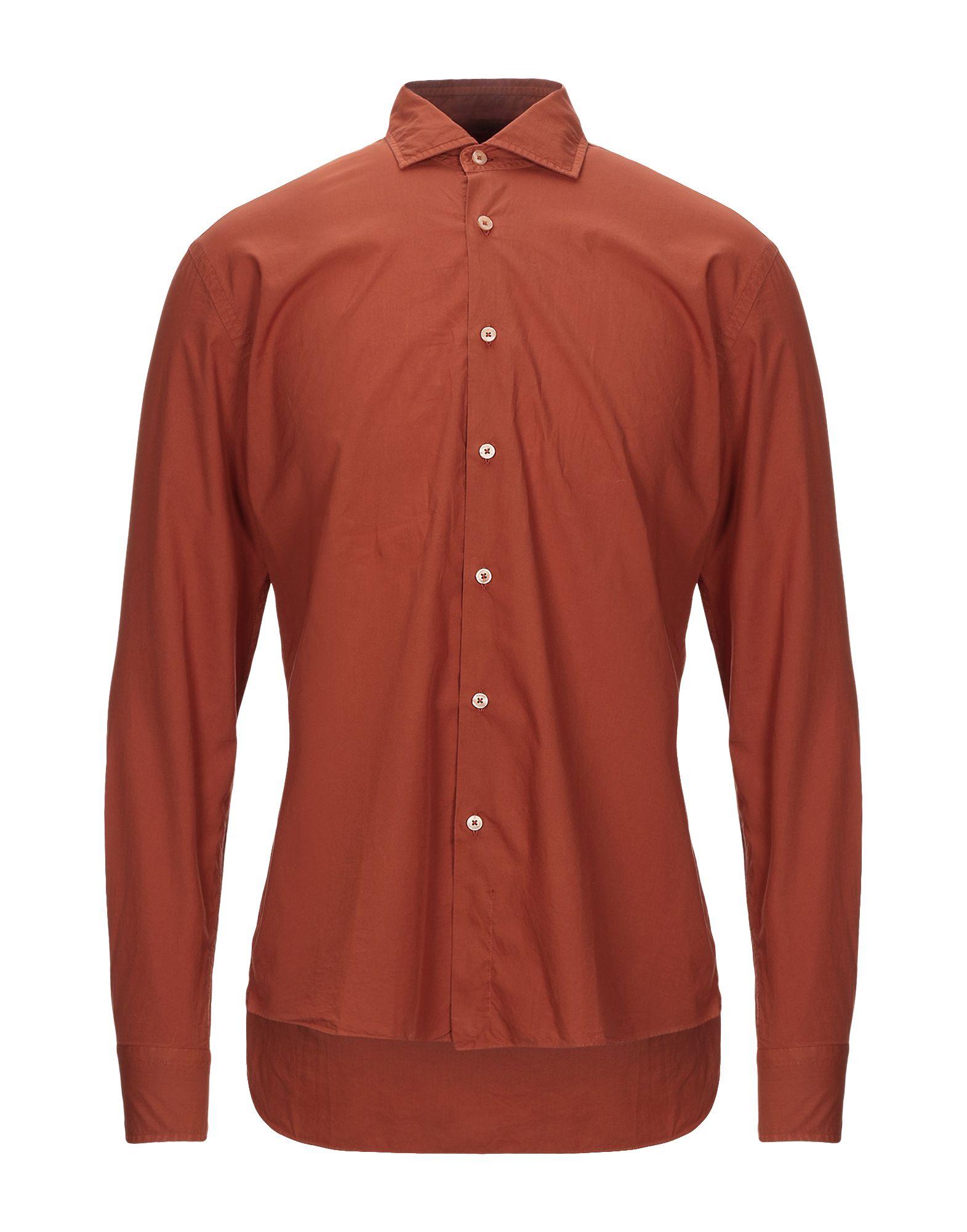《セール開催中》XACUS メンズ シャツ 赤茶色 41 コットン 100%