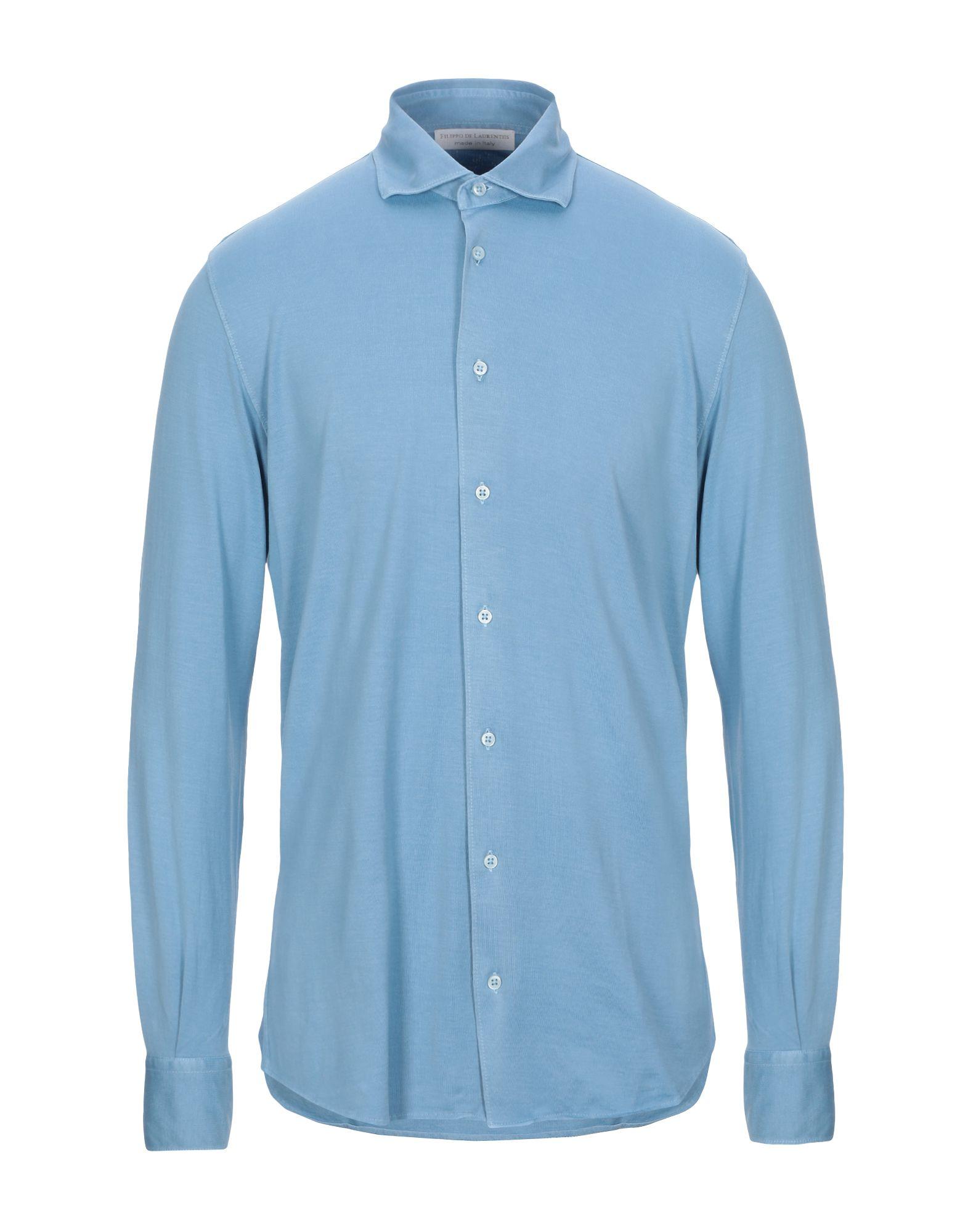 《セール開催中》FILIPPO DE LAURENTIIS メンズ シャツ パステルブルー 56 コットン 100%