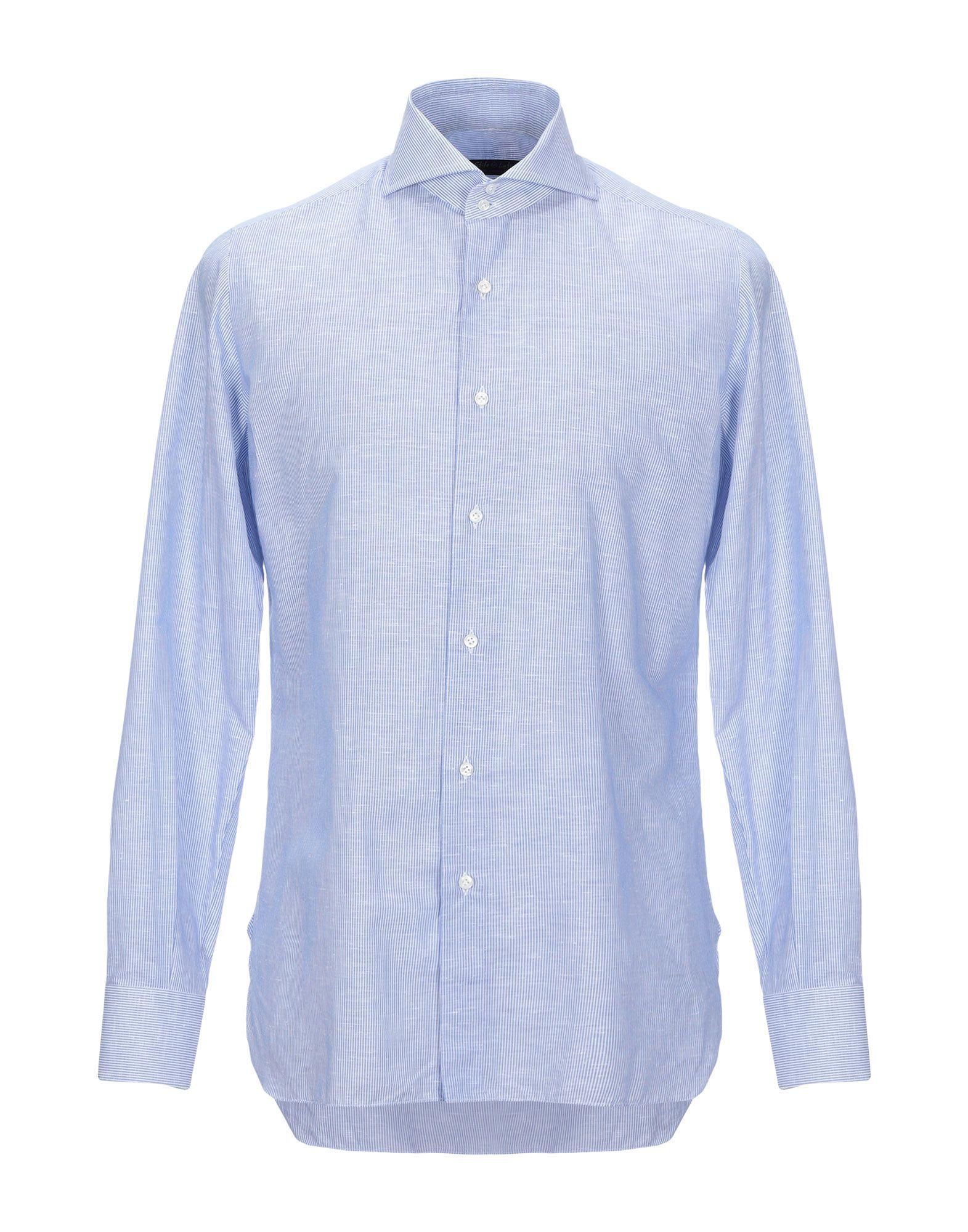 《セール開催中》STILE LATINO メンズ シャツ アジュールブルー 42 麻 60% / コットン 40%