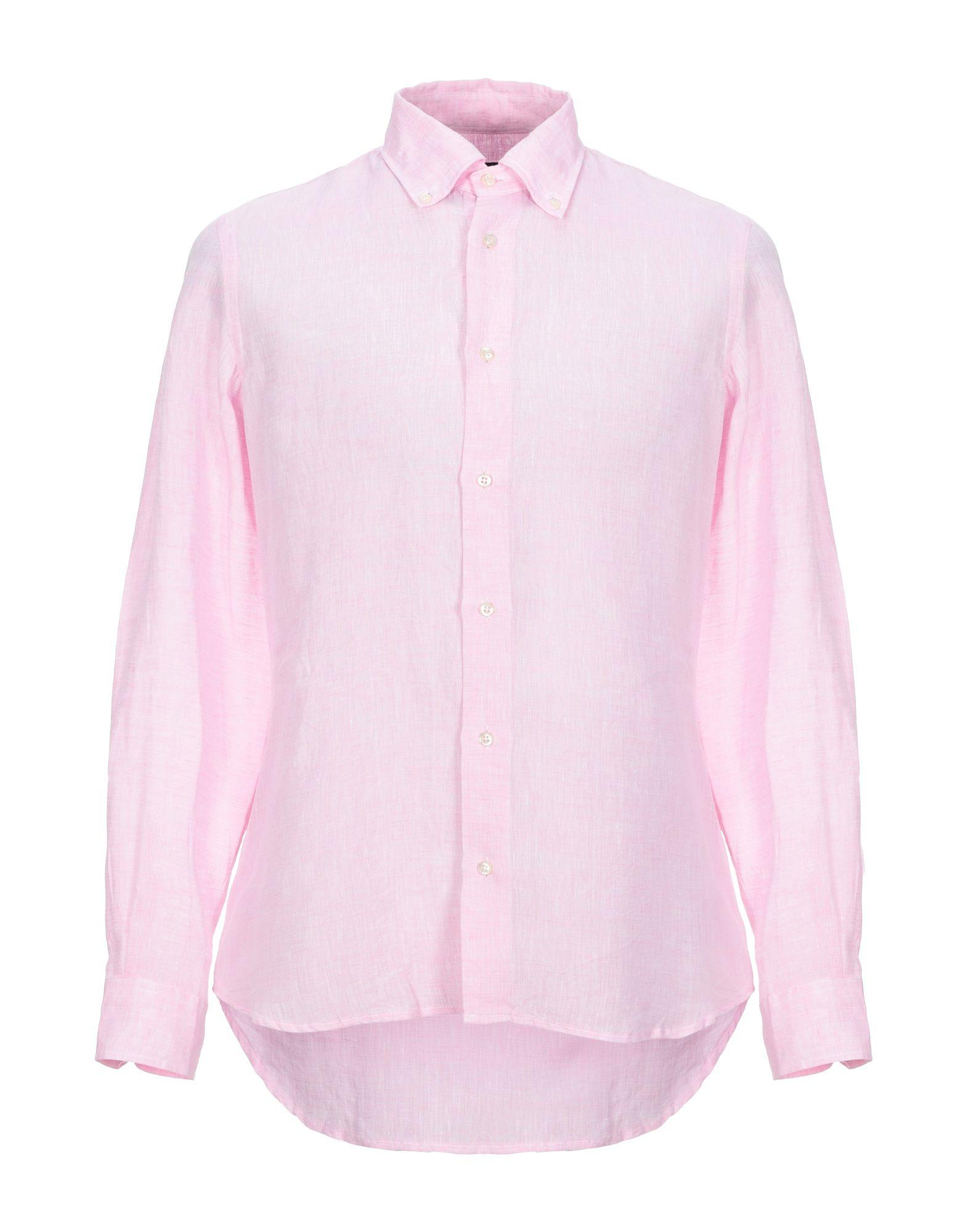 《セール開催中》AVIGNON メンズ シャツ ピンク 40 麻 100%