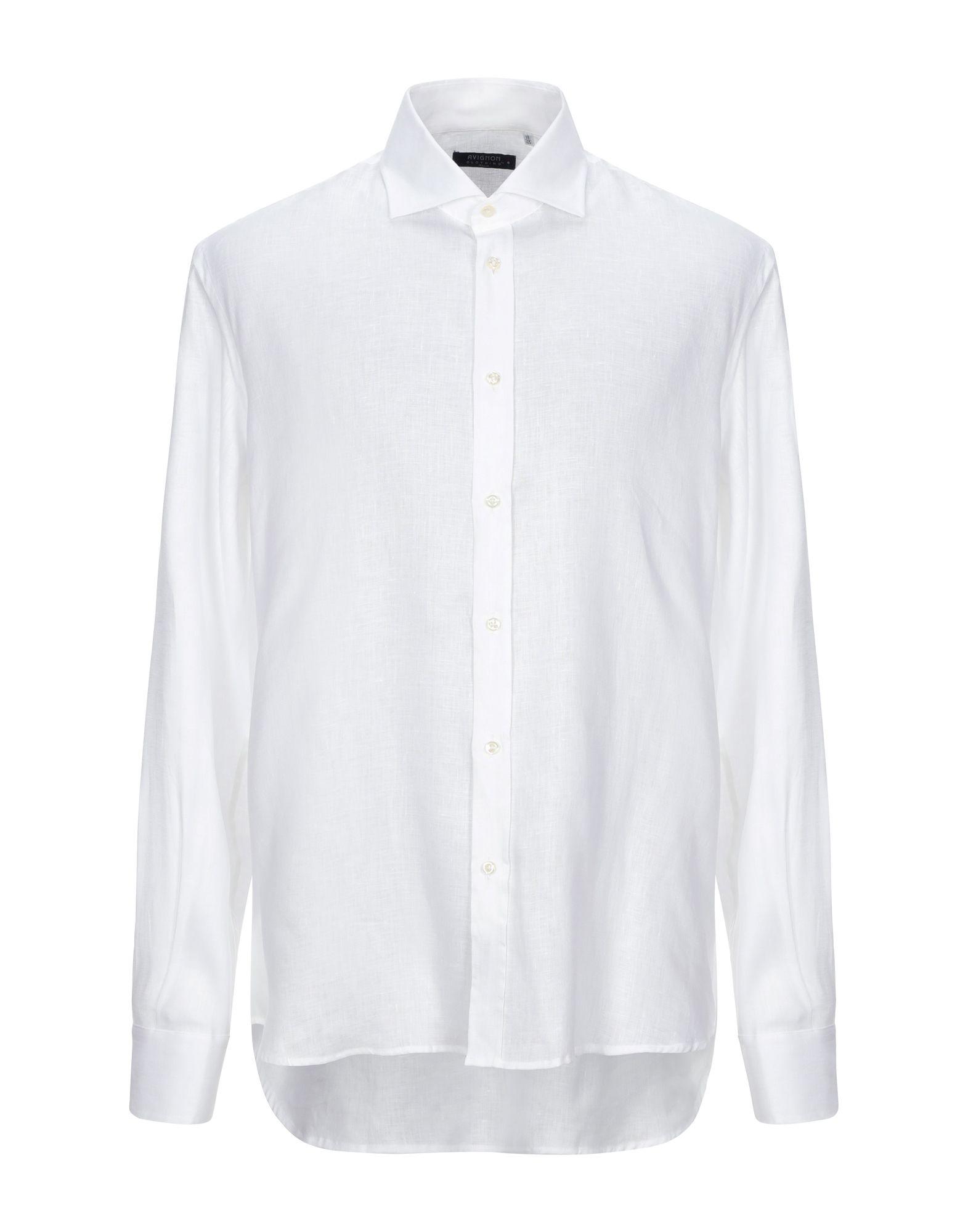 《セール開催中》AVIGNON メンズ シャツ ホワイト 45 麻 100%