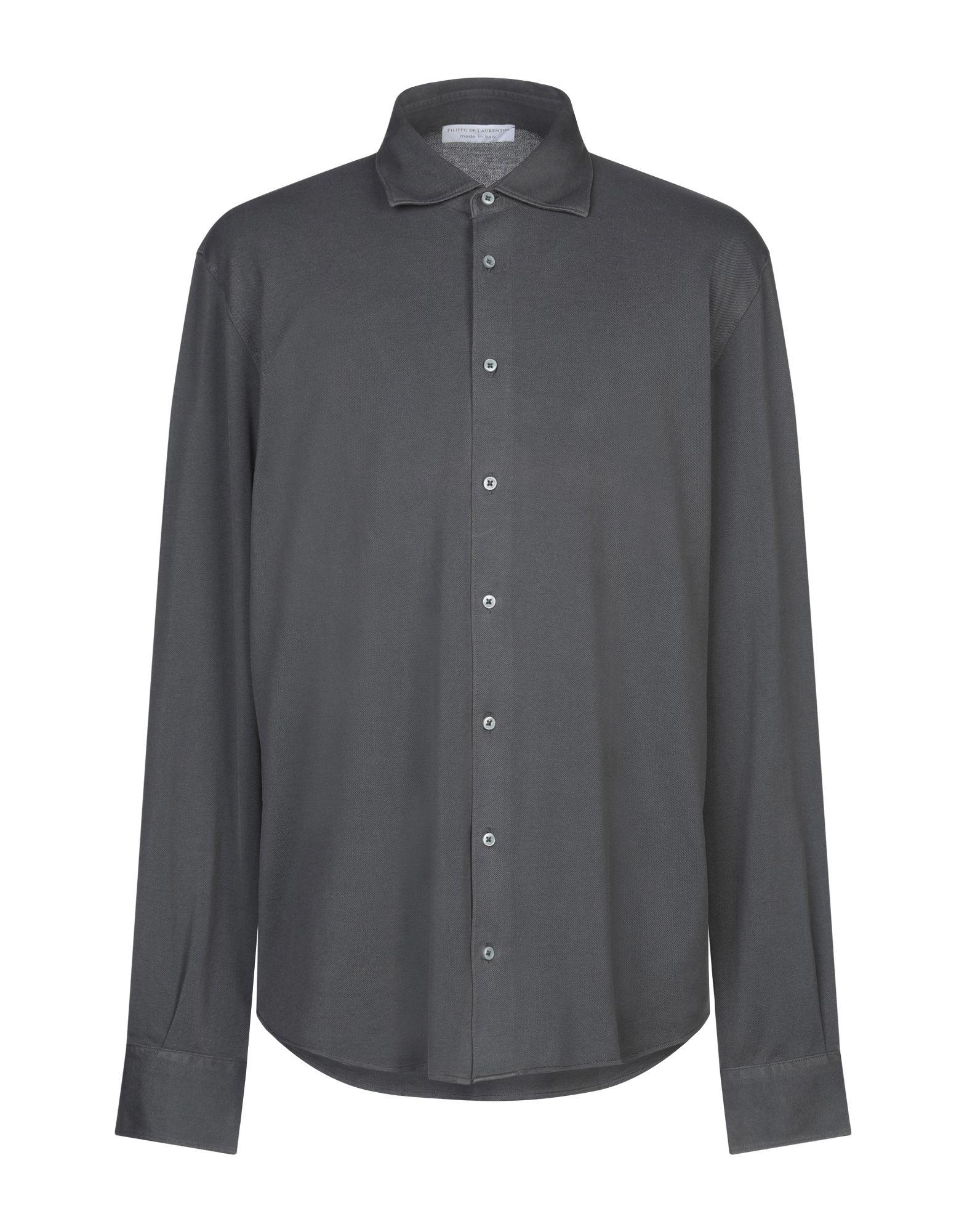 《セール開催中》FILIPPO DE LAURENTIIS メンズ シャツ 鉛色 54 コットン 100%