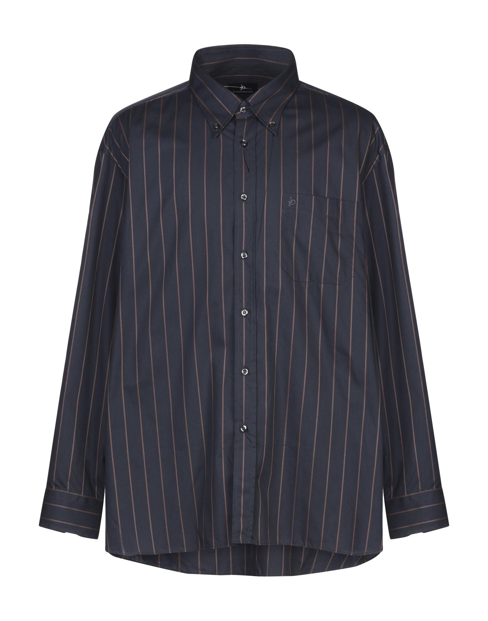 《セール開催中》ROCCOBAROCCO メンズ シャツ ダークブルー 48 コットン 100%