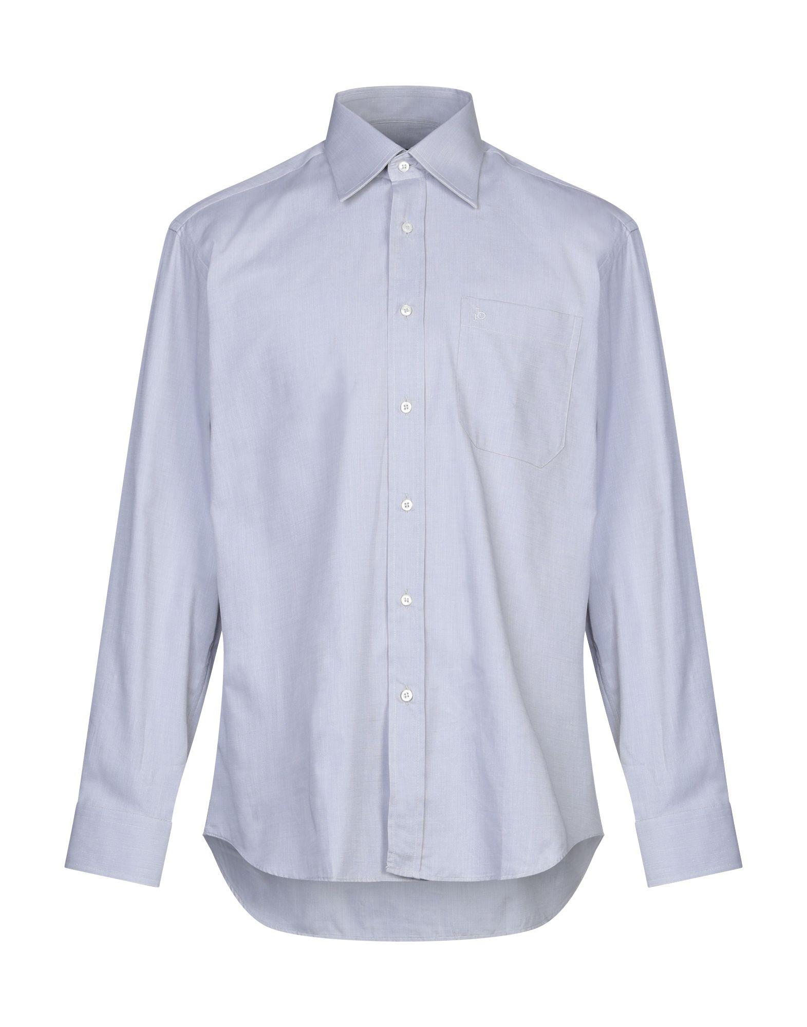 《セール開催中》ROCCOBAROCCO メンズ シャツ ライトグレー 39 コットン 100%