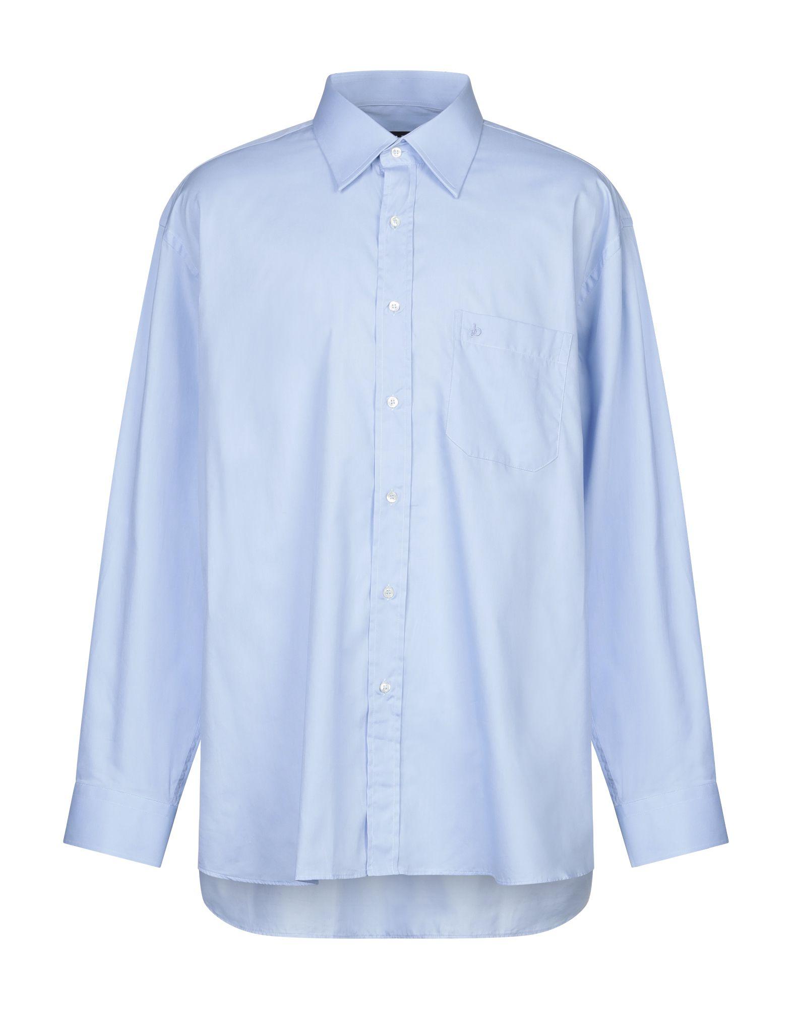 《セール開催中》ROCCOBAROCCO メンズ シャツ スカイブルー 48 コットン 100%