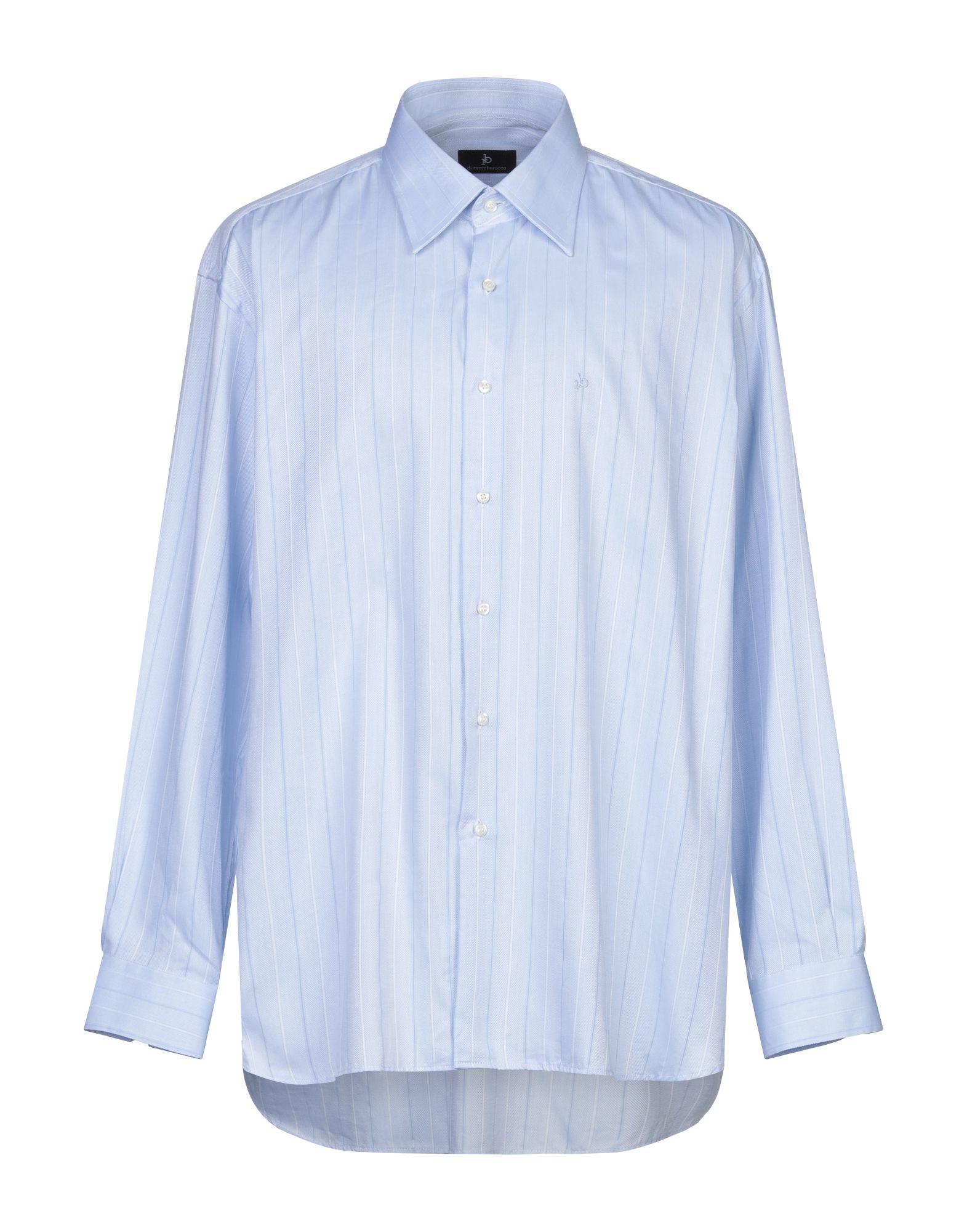 《セール開催中》ROCCOBAROCCO メンズ シャツ スカイブルー 47 コットン 100%