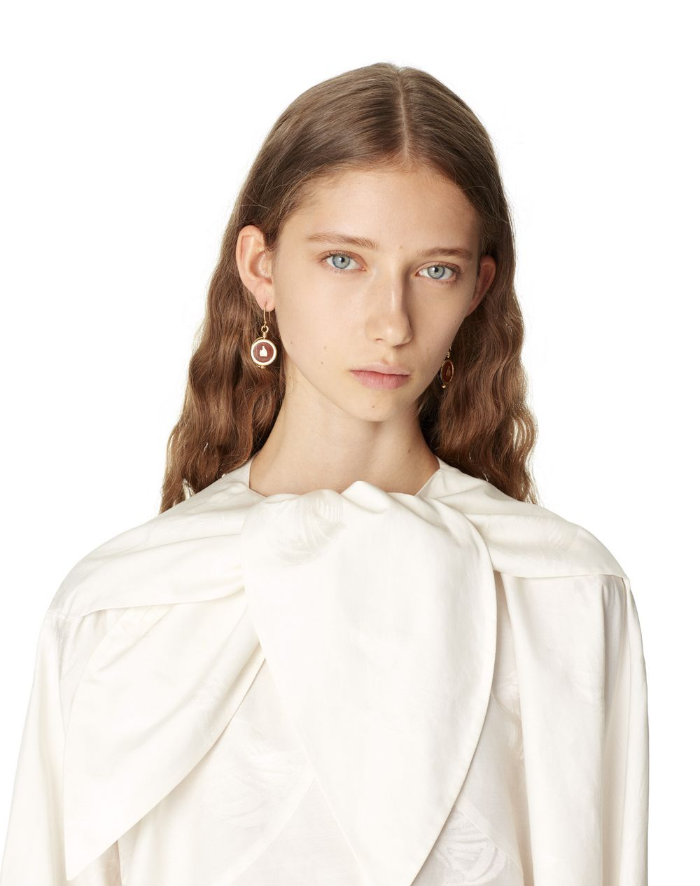 MOTHER AND CHILD LOGO SILK SHIRT WITH SCARF COLLAR - Lanvin