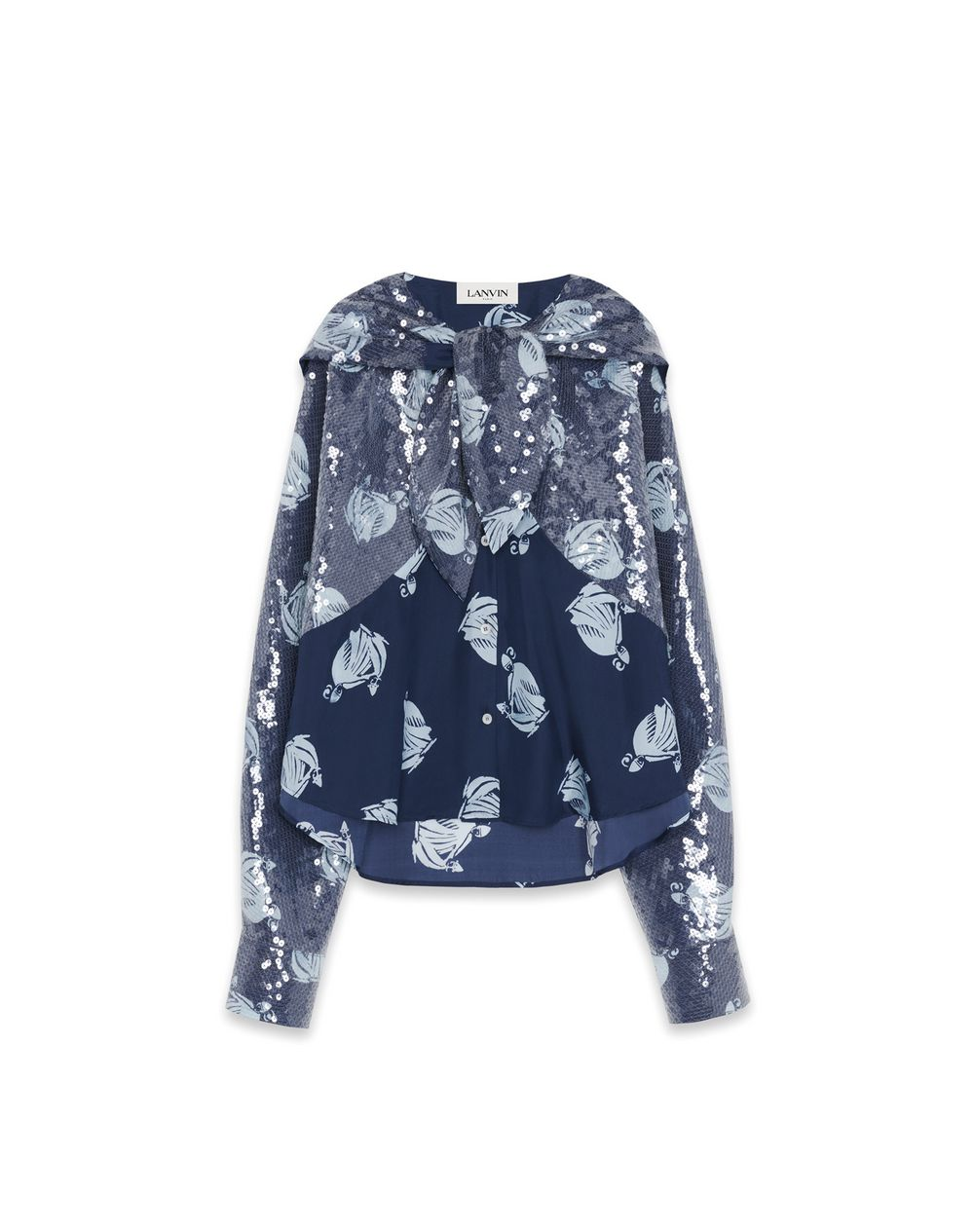 MOTHER AND CHILD LOGO SILK BLOUSE WITH SEQUINS - Lanvin