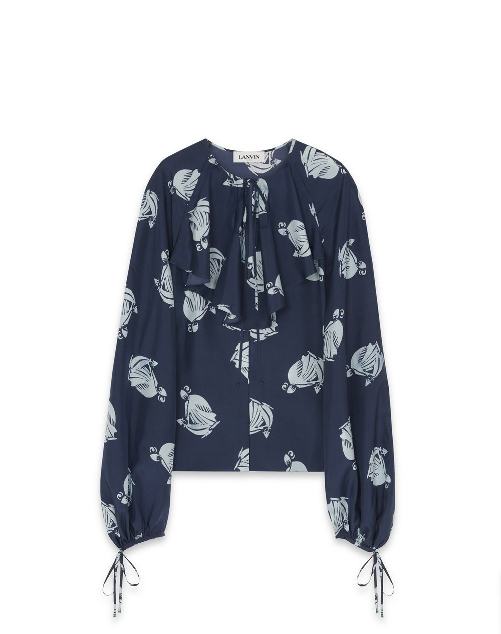 MOTHER AND CHILD LOGO SILK BLOUSE - Lanvin